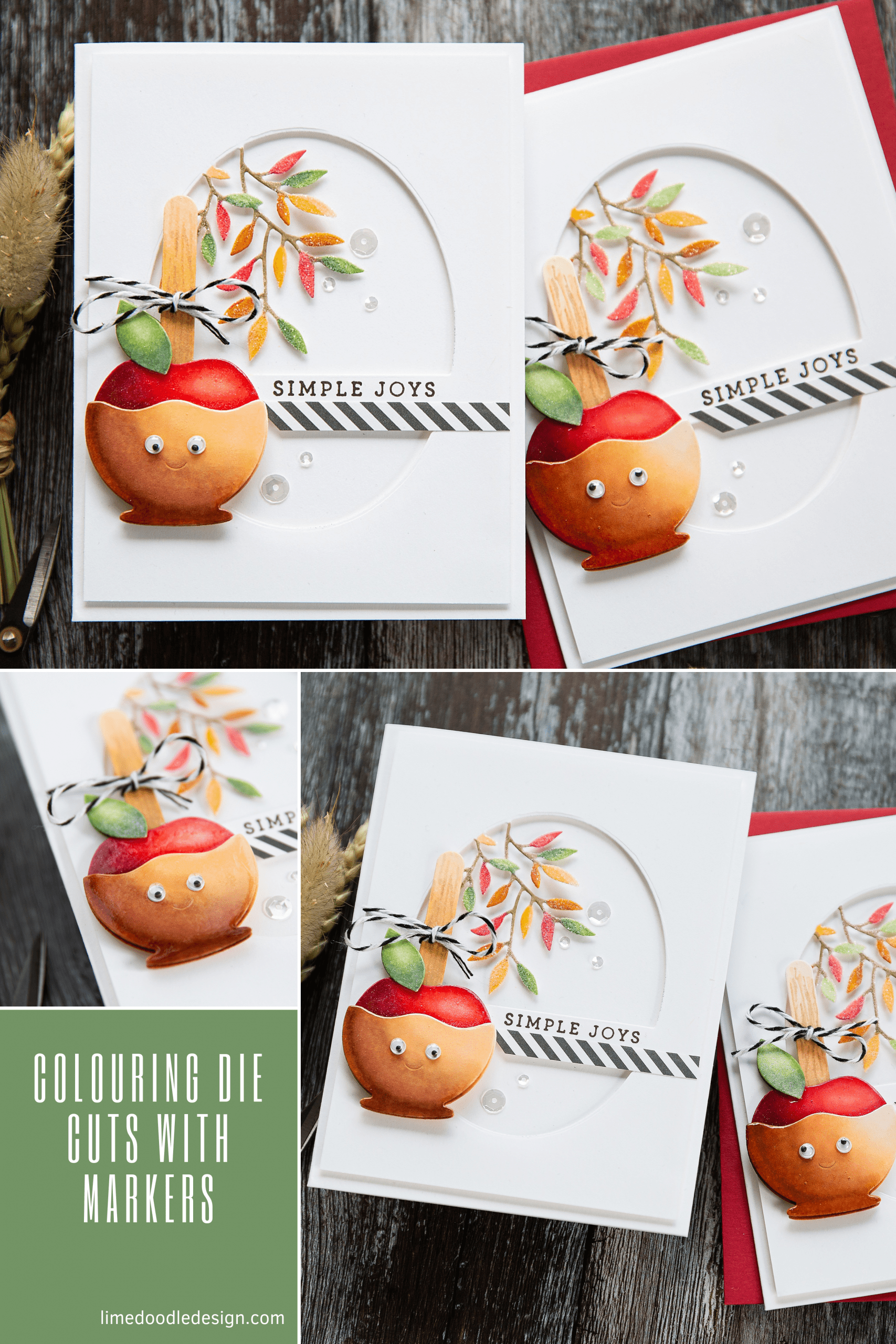 Colouring autumn die cuts with markers. Handmade caramel apple card by Debby Hughes using supplies from Simon Says Stamp.