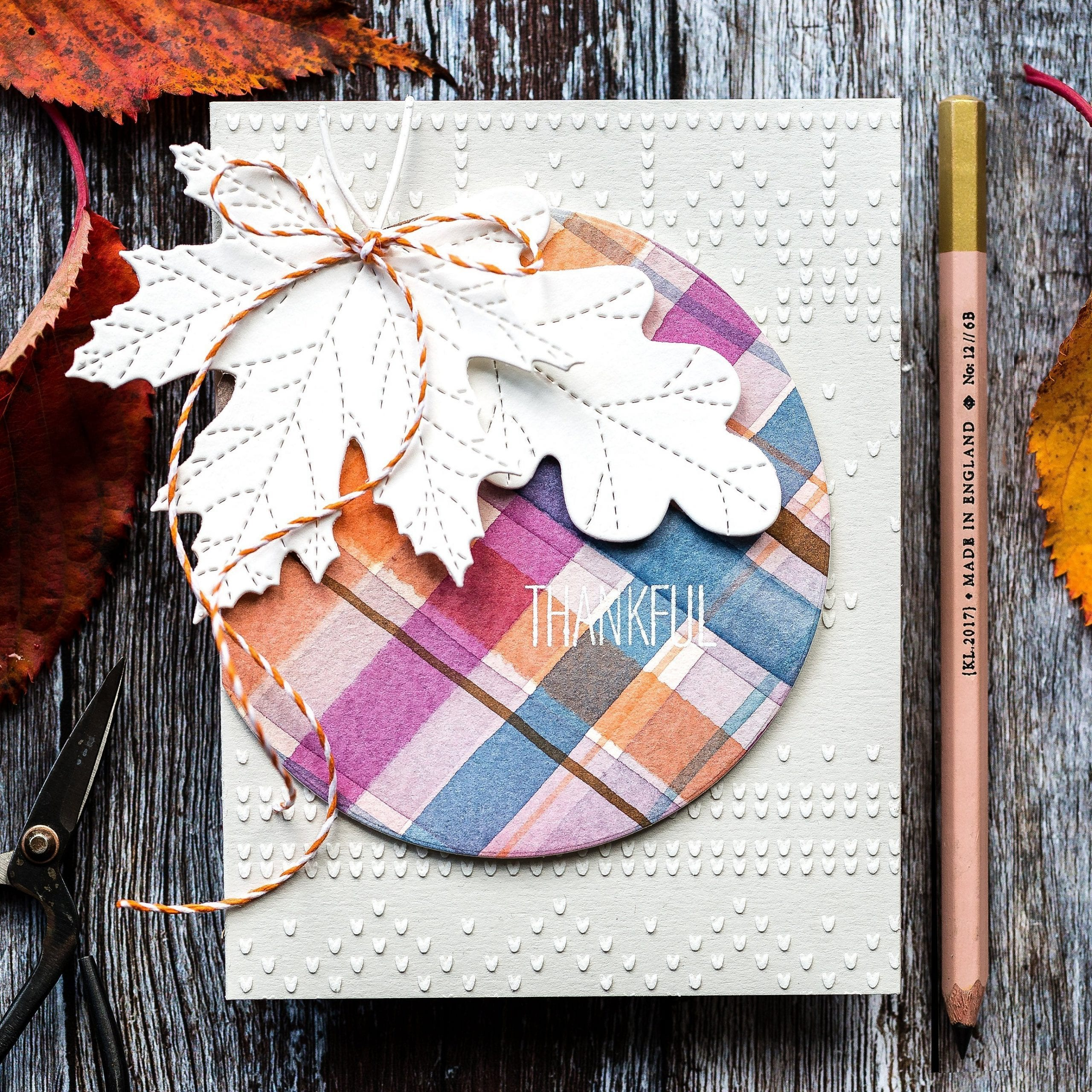 Watercoloured fall tartan thankful handmade autumn card by Debby Hughes. Find out more here: https://limedoodledesign.com/2019/10/watercoloured-fall-tartan-blog-hop-giveaway/