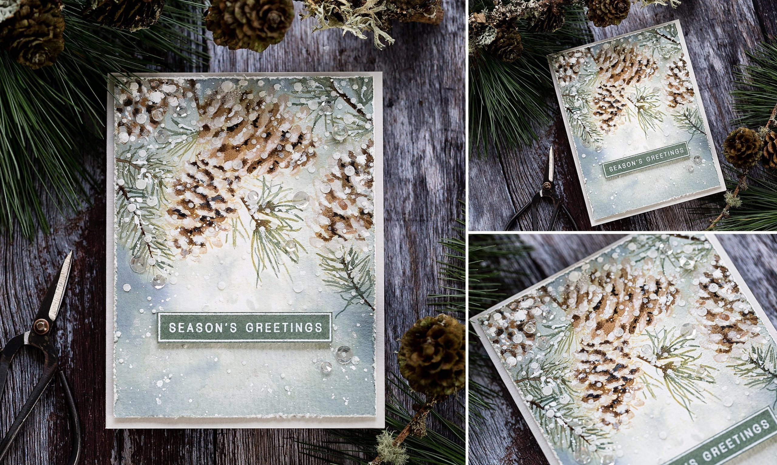 Loosely watercoloured pinecones handmade Christmas card by Debby Hughes using supplies from Simon Says Stamp.