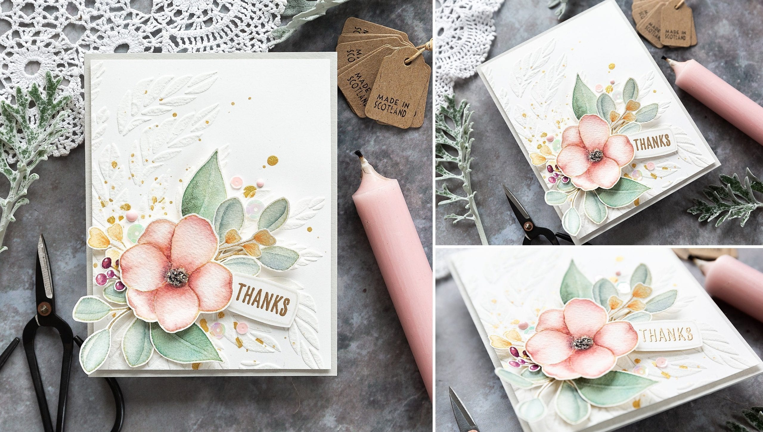 Adding dimension - watercoloured floral handmade card by Debby Hughes using supplies from Simon Says Stamp.