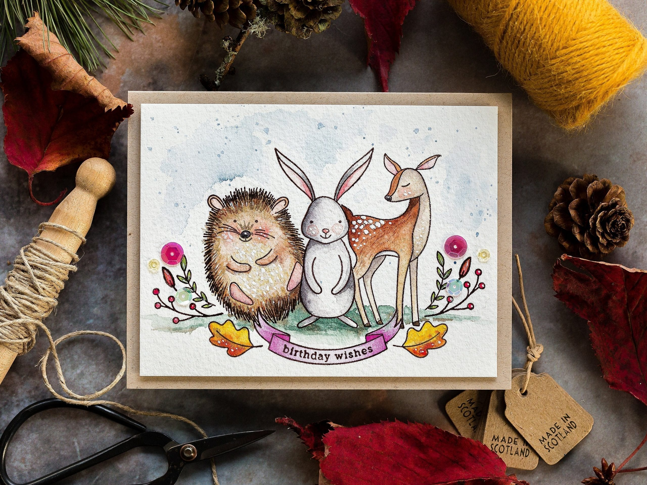 Watercoloured woodland critters (hedgehog, rabbit, deer) handmade birthday greeting card by Debby Hughes using supplies from Simon Says Stamp.