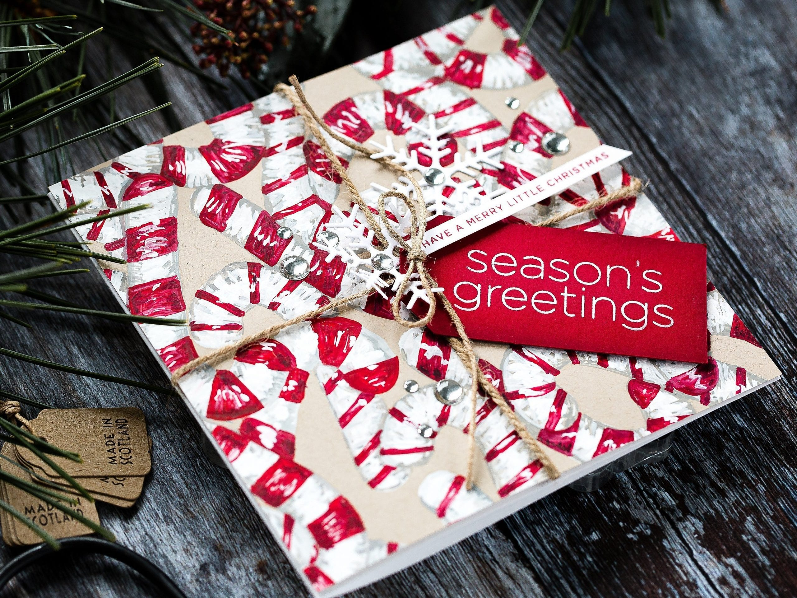 Candy canes on kraft, gouache painted handmade card by Debby Hughes using supplies from Simon Says Stamp and CZ Design.