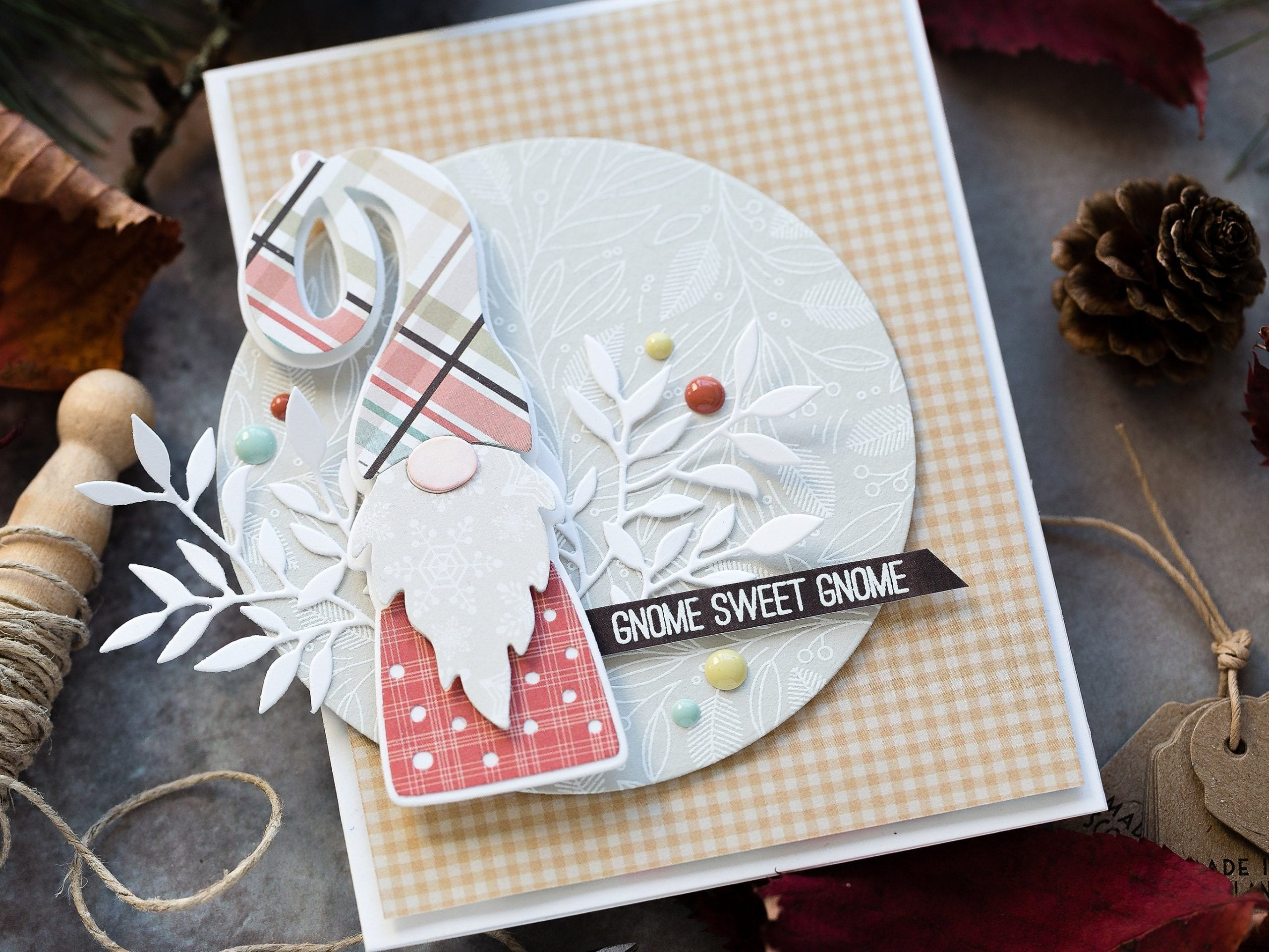 Paper pieced, die-cut gnome handmade card by Debby Hughes using supplies from Simon Says Stamp.