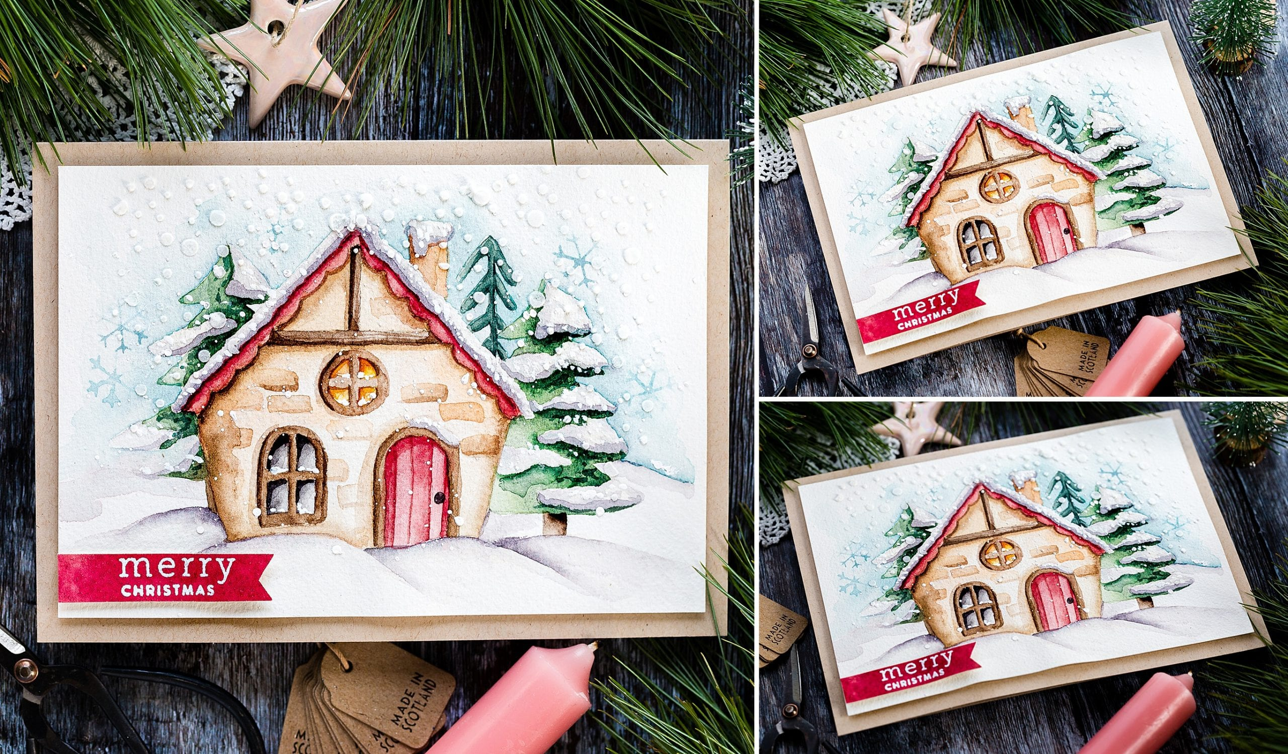 Snowy, winter cottage watercoloured handmade card by Debby Hughes using supplies from Simon Says Stamp.