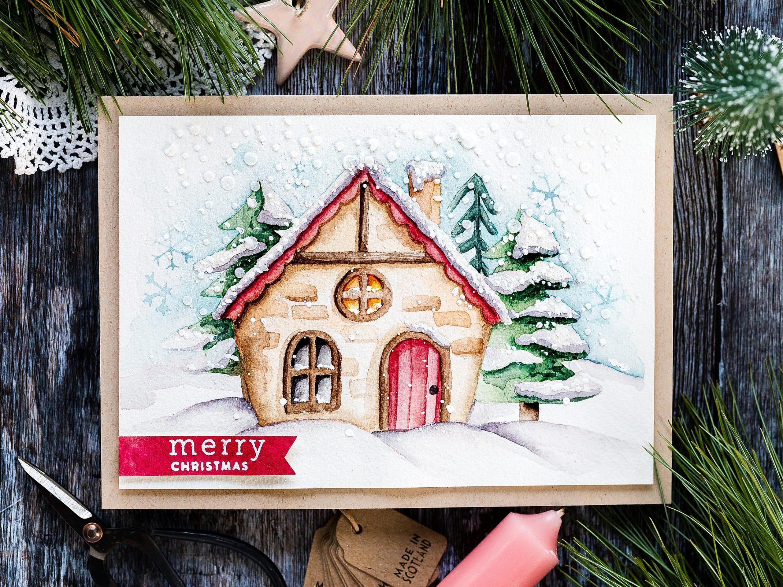 Stencilled Snowy Cottage