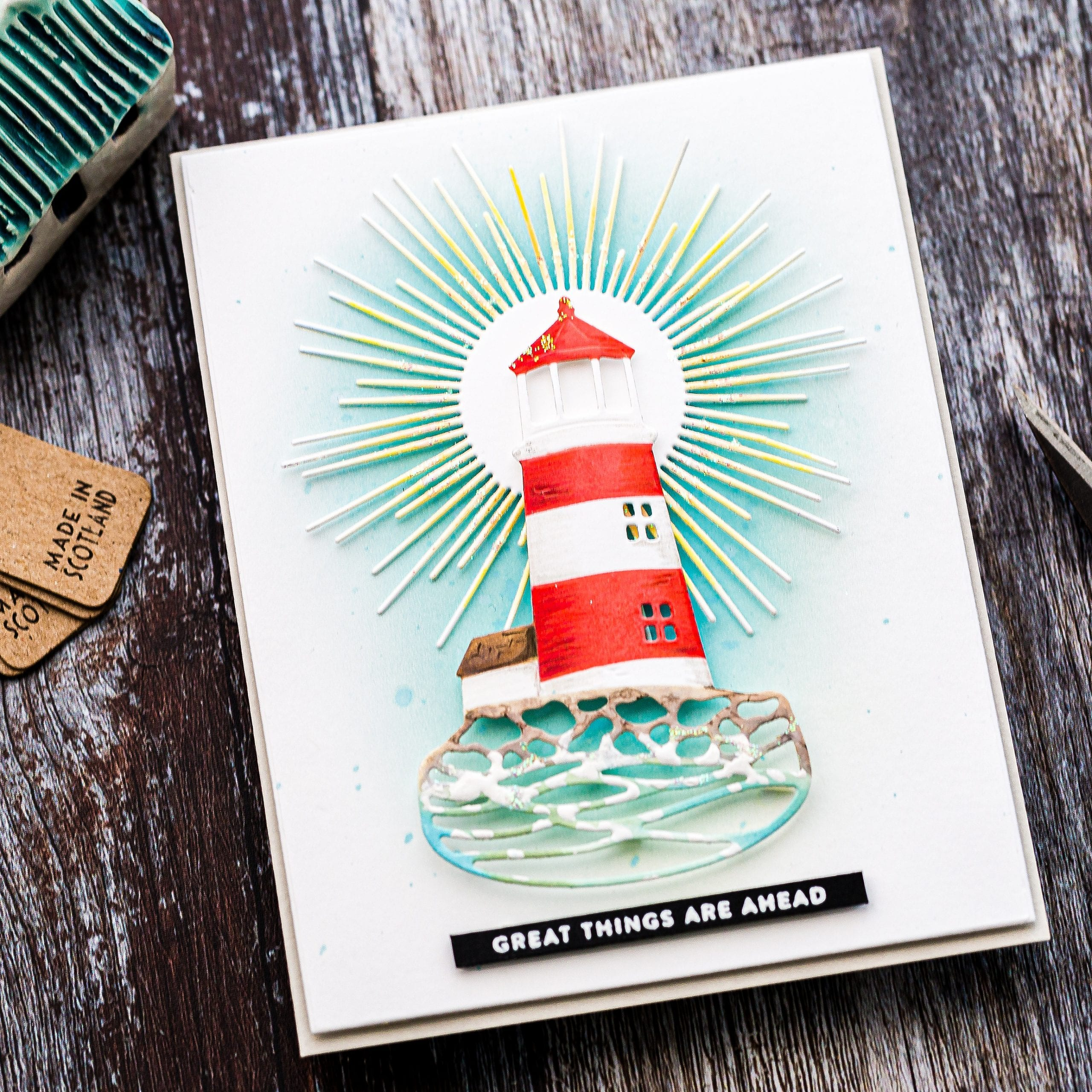 Lighthouse die-cut, encouragement card plus ink blending technique. Handmade card by Debby Hughes using supplies from Simon Says Stamp.