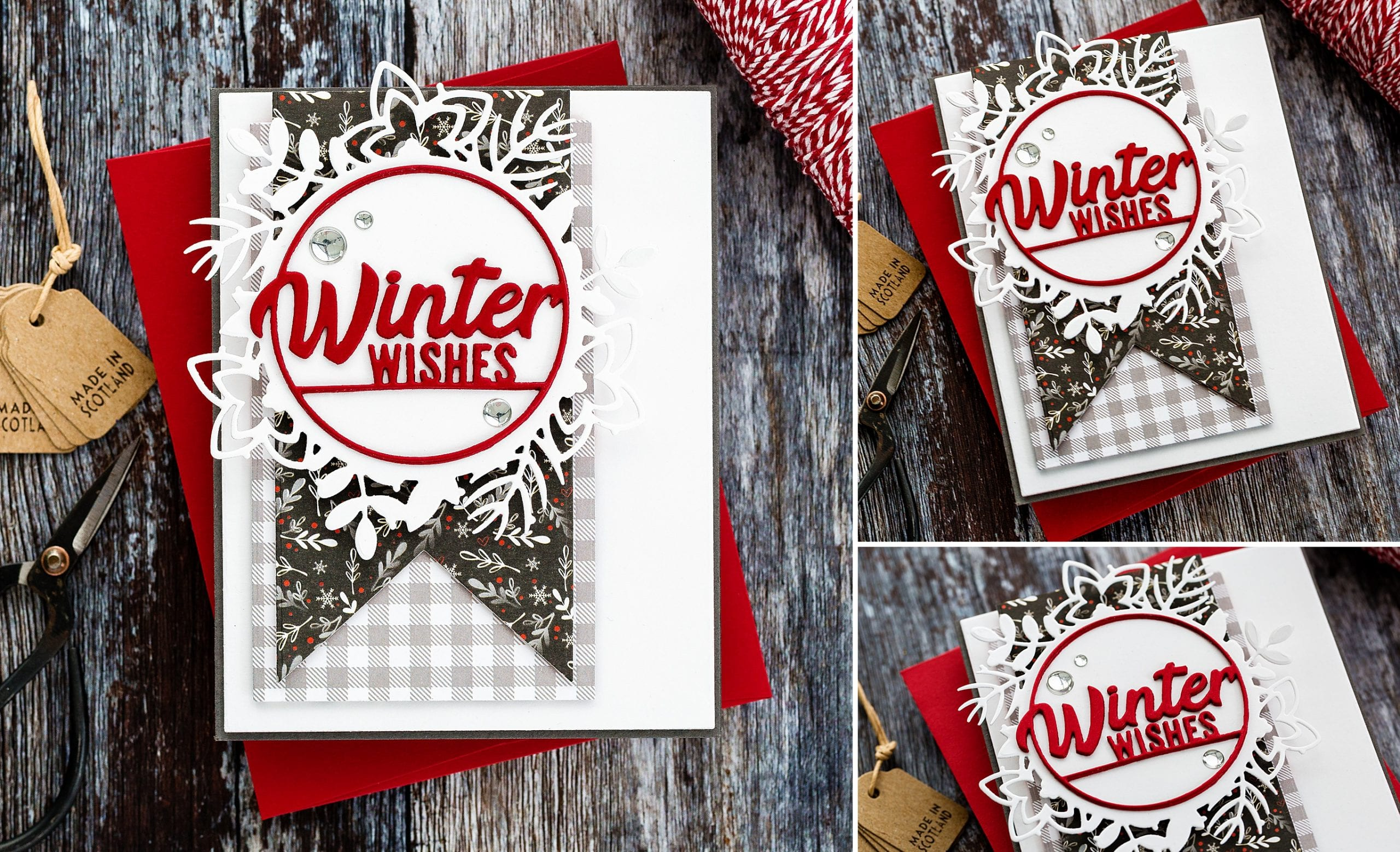 Die cut Winter Wishes handmade Christmas card by Debby Hughes using supplies from Simon Says Stamp.