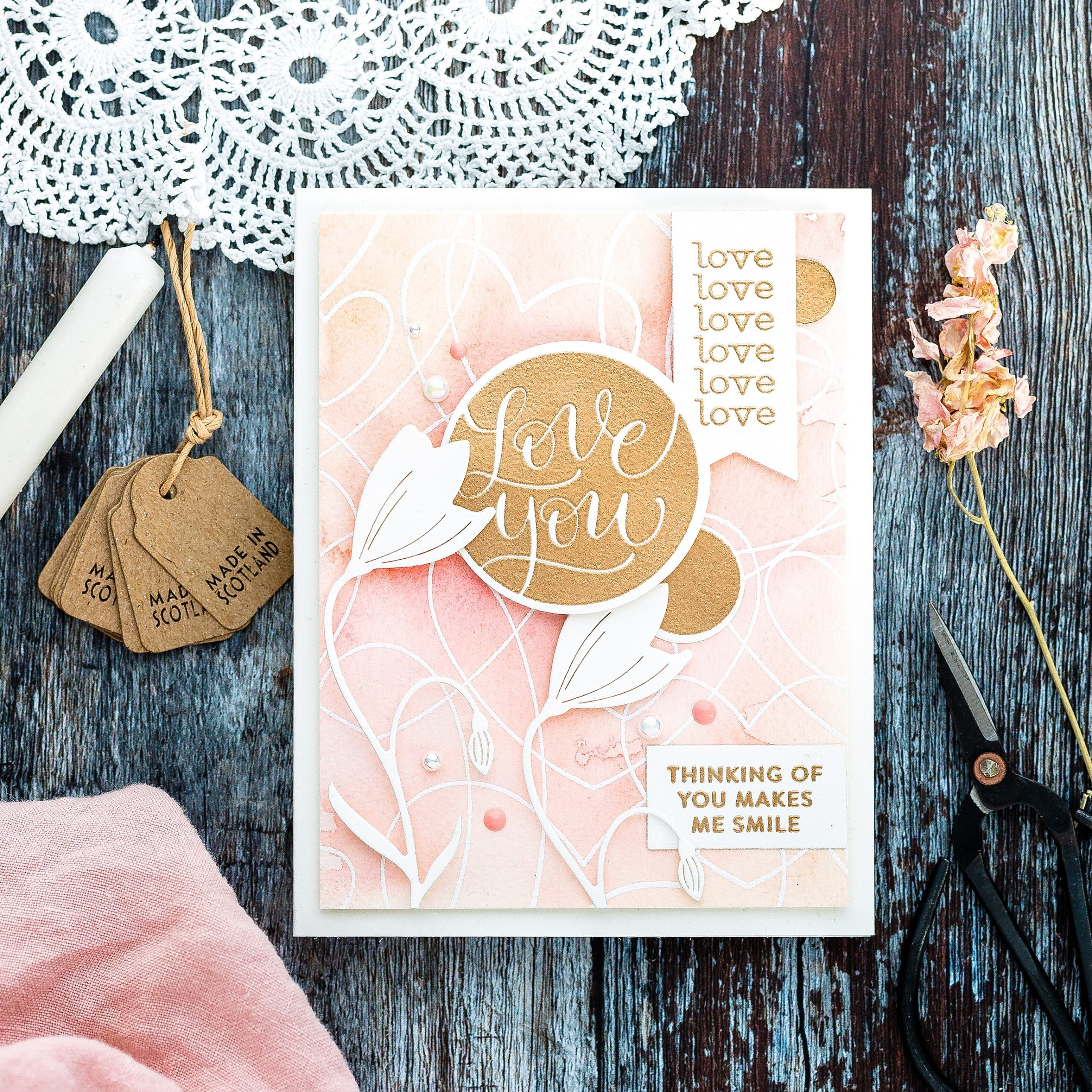 Easy watercolour background tutorial handmade Valentine's card by Debby Hughes using supplies from Simon Says Stamp. Click to find out more. #handmadecard #homemade #watercolor