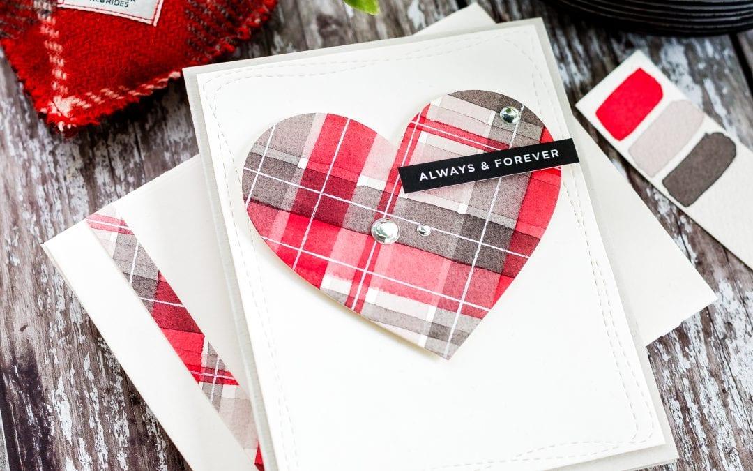 Video – Simple Watercoloured Tartan Heart Minimal Supplies