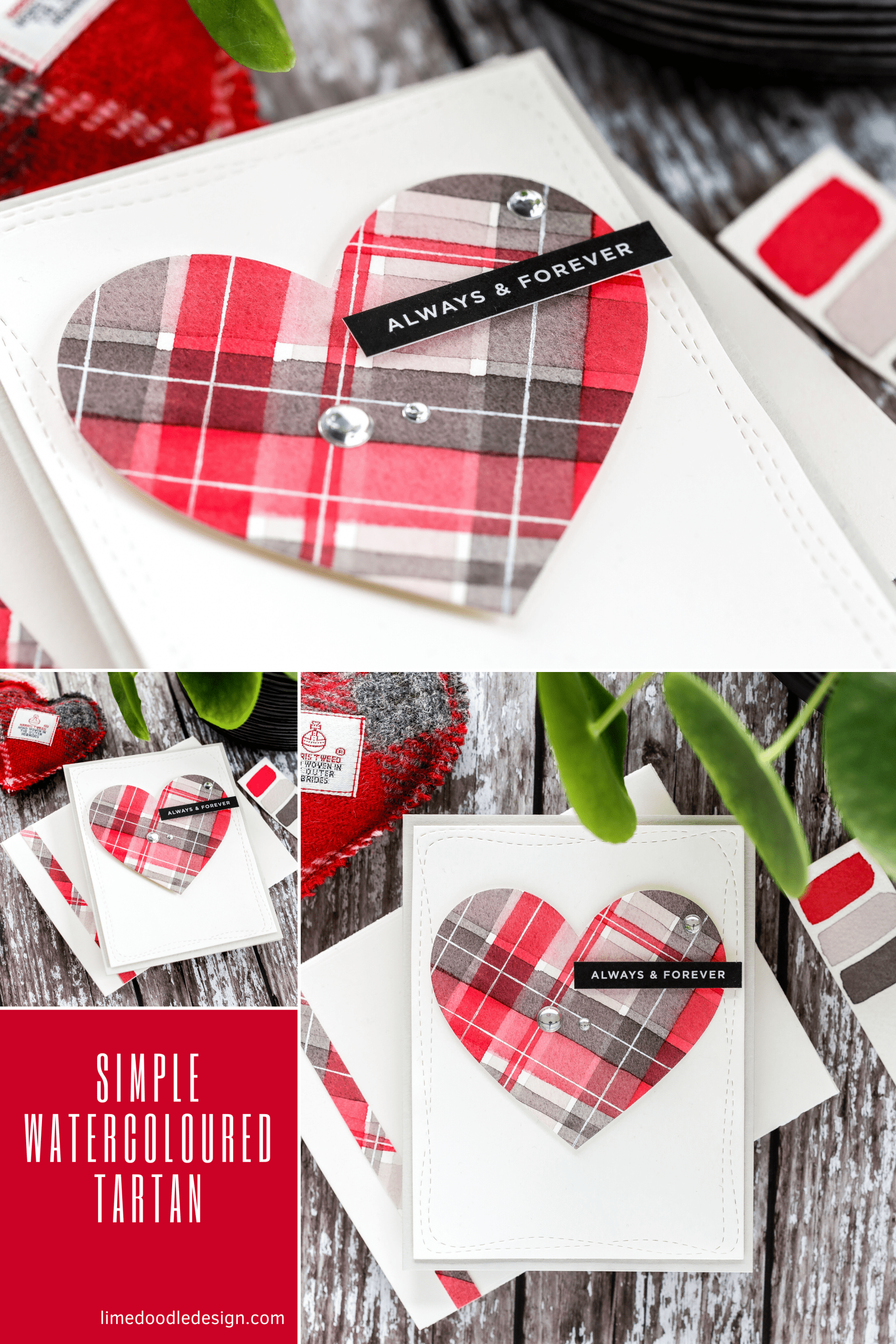 Simple watercolour tartan heart handmade card by Debby Hughes which would be great for Valentine's or an anniversary. Supplies from Simon Says Stamp. #tartan #watercolor #handmade