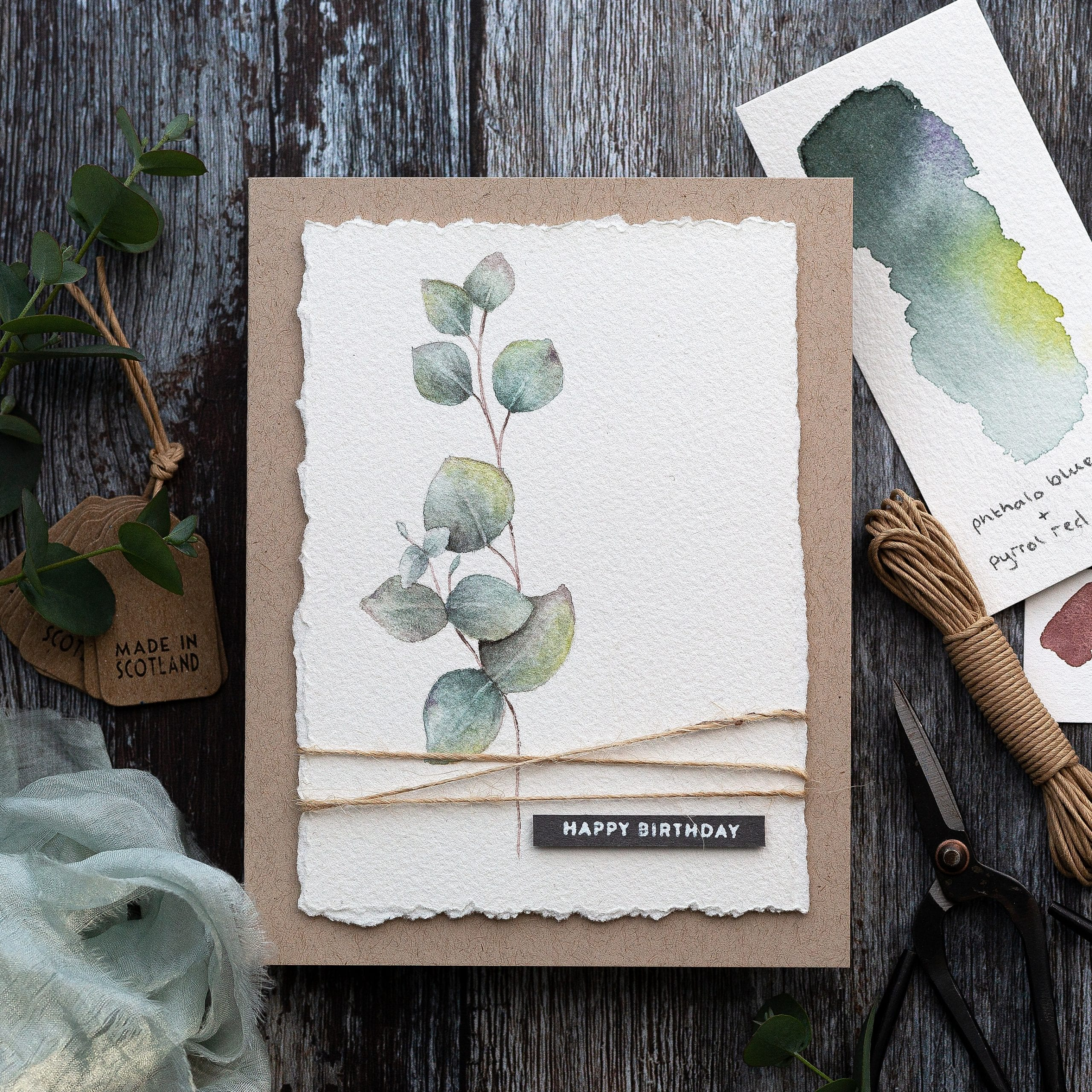 Simple masculine watercoloured botanical handmade birthday card by Debby Hughes using supplies from Simon Says Stamp #handmadecard #homemade #watercolor #malebirthday