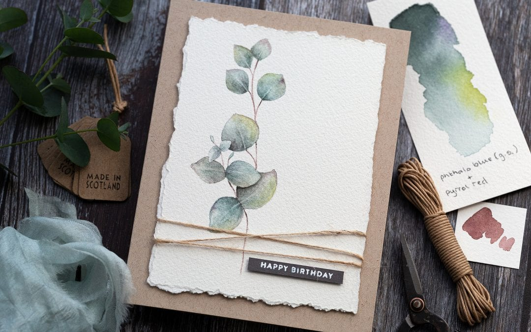Simple Masculine Watercoloured Birthday Card