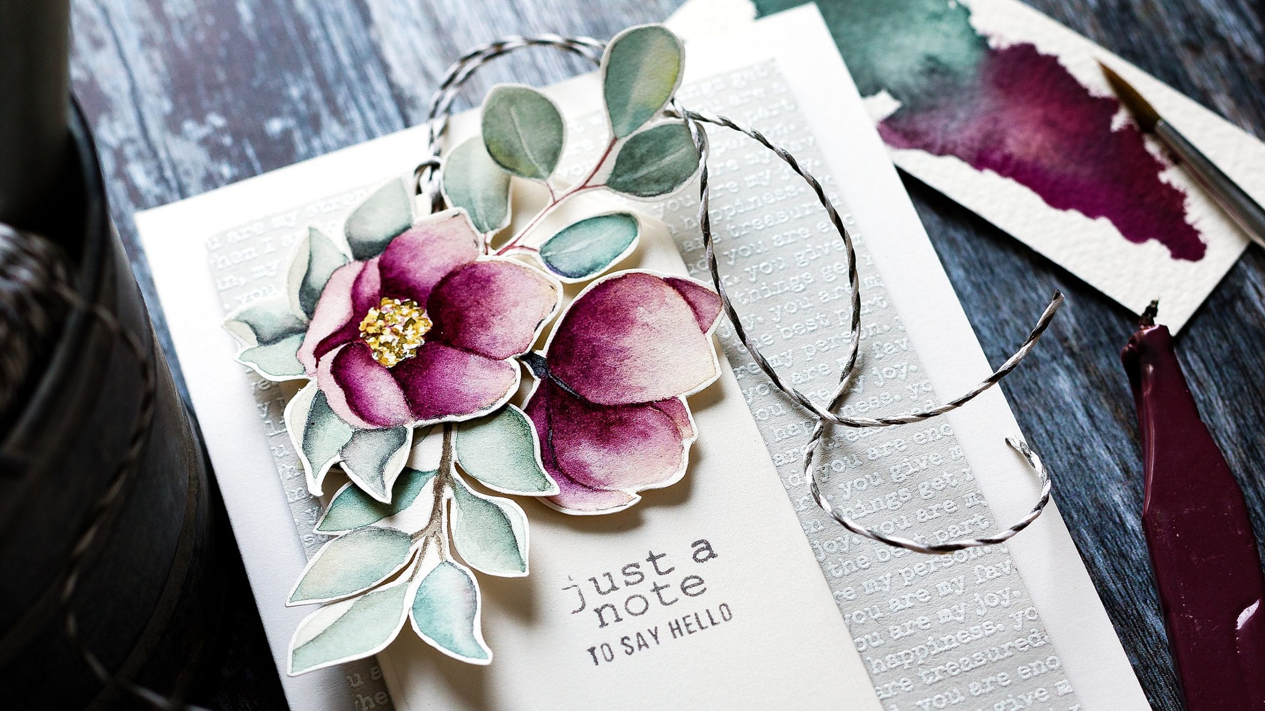 Softly watercoloured hellebores spring flowers handmade card by Debby Hughes using supplies from Simon Says Stamp #handmade #homemade #watercolor