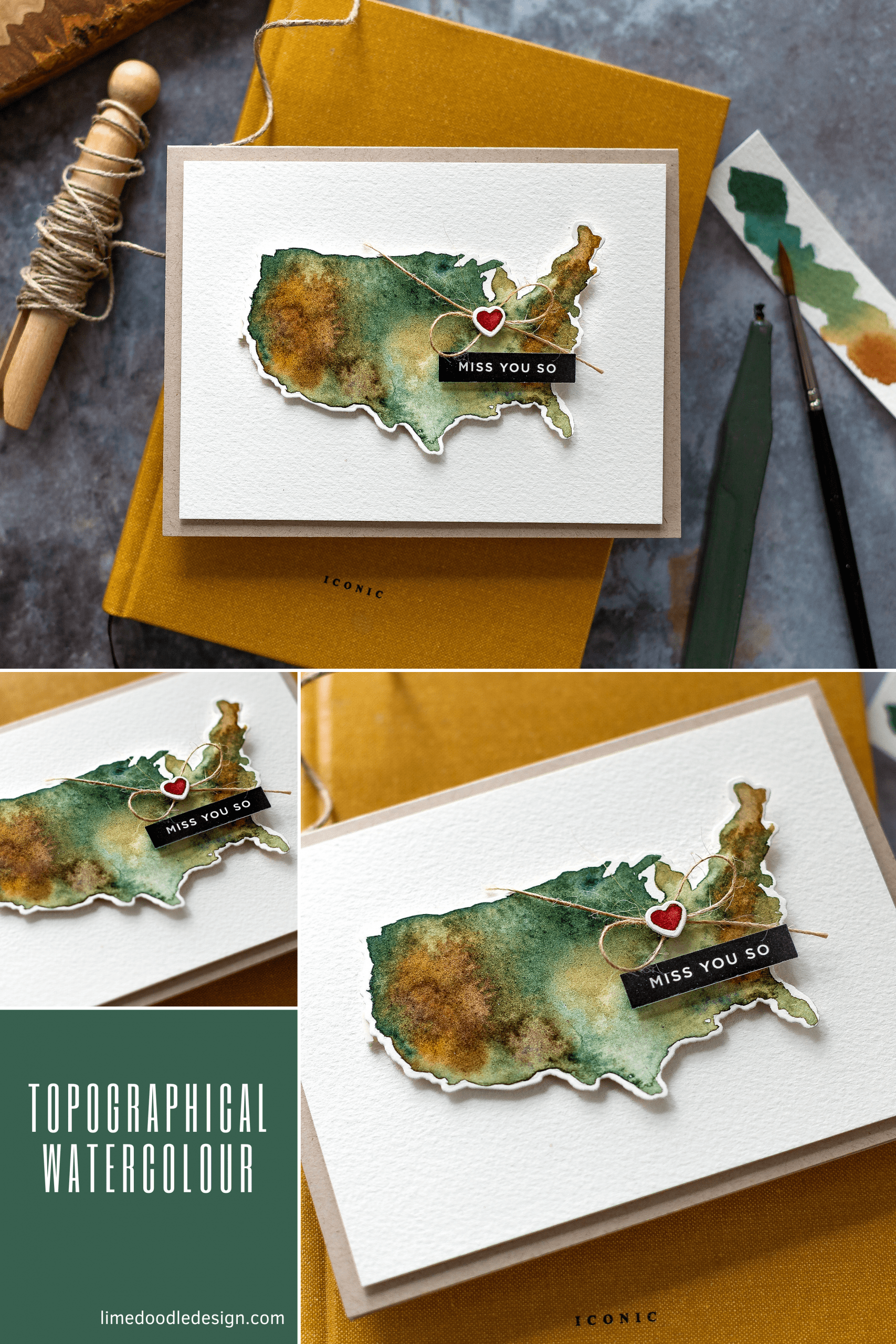 Watercoloured topographical map miss you handmade card by Debby Hughes using supplies from Simon Says Stamp #handmade #homemade #tutorial #watercolor #handmadecard