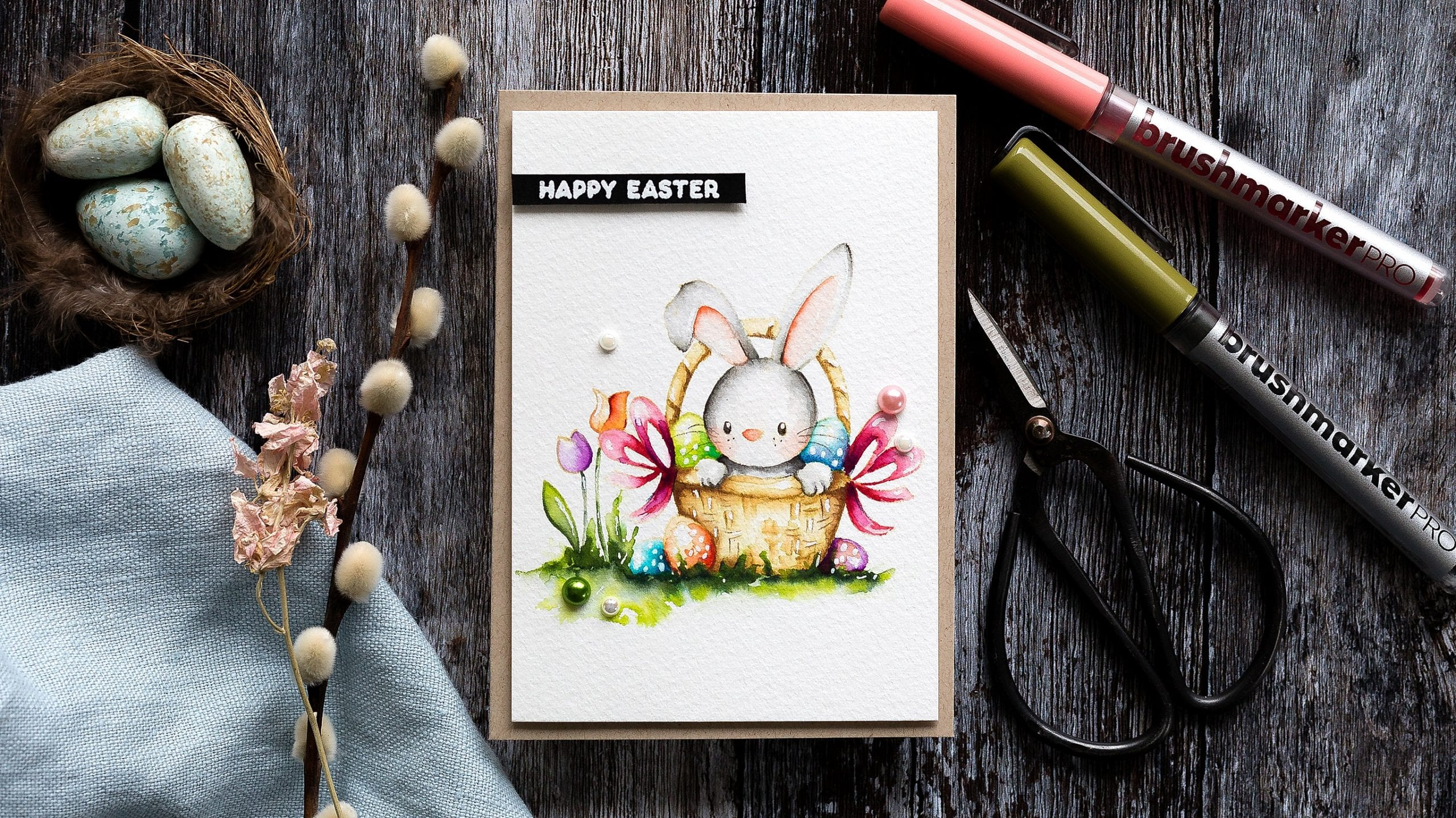 Video tutorial - watercoloured cute Easter bunny + Karin brushmarker Pro review. Handmade card by Debby Hughes using supplies from Simon Says Stamp #watercolor #homemade