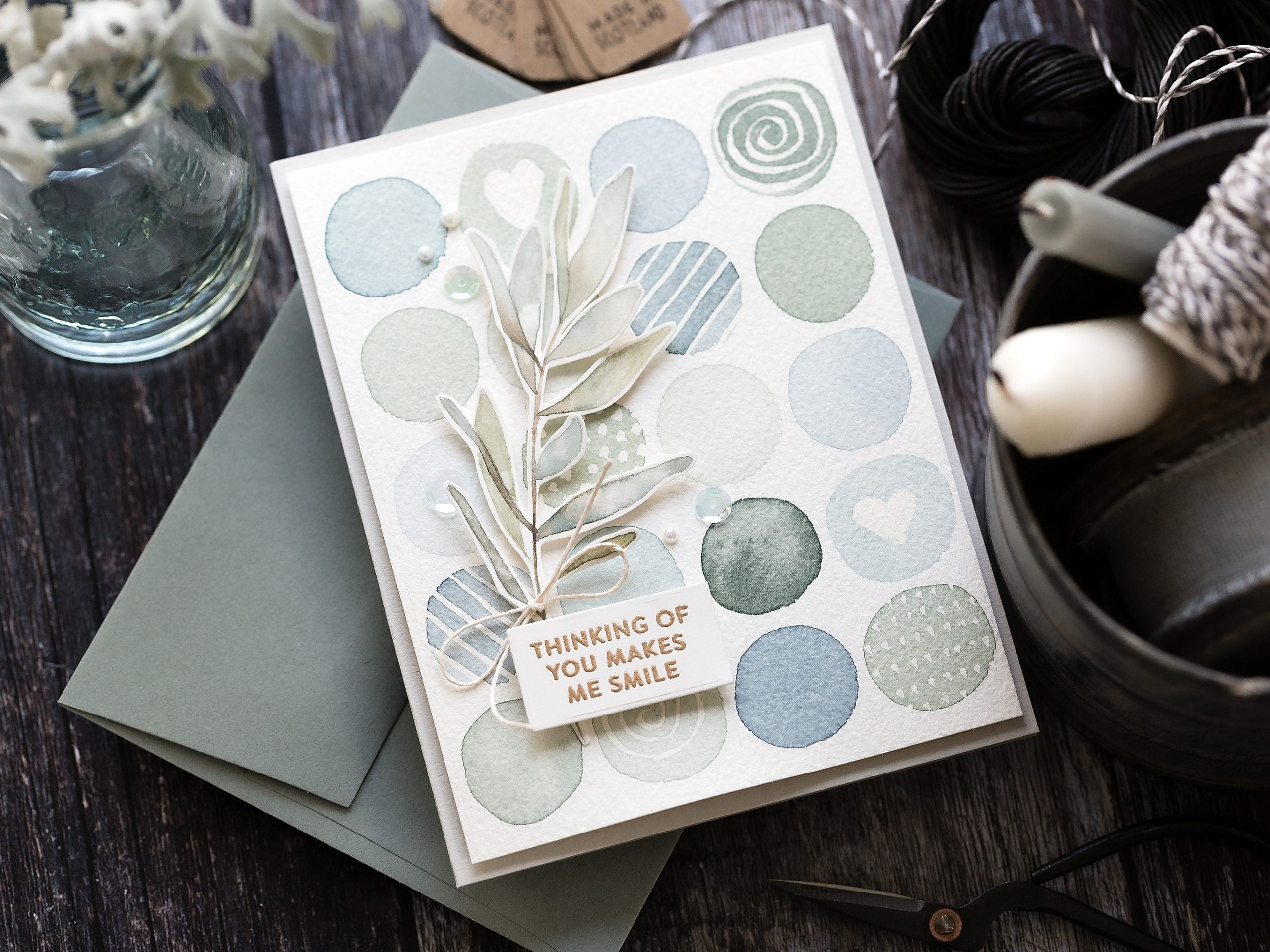 Easy watercolour background a soft subtle blues and greens grid of circles. Handmade card by Debby Hughes using supplies from Simon Says Stamp #handmade #homemade #watercolor