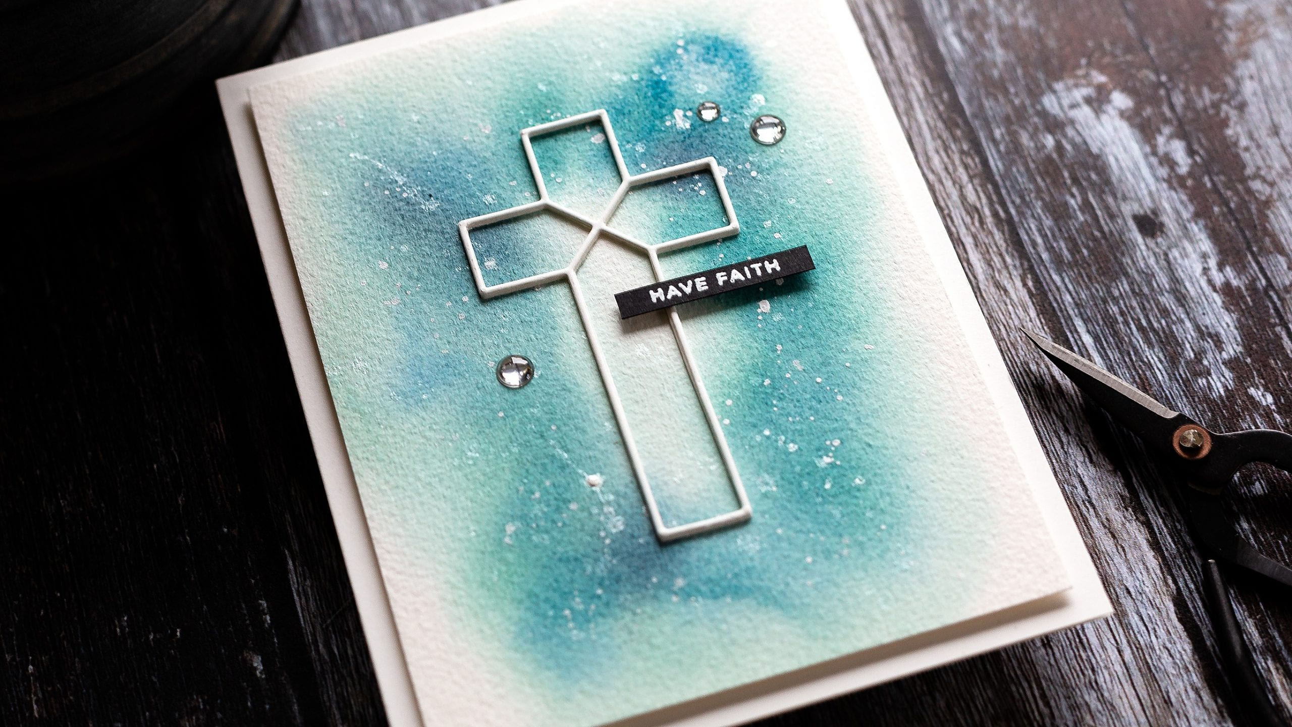 Simplicity speaks volumes with a simple die cut cross showcased on a soft watercoloured background. Handmade 'have faith' card by Debby Hughes #homemade #handmade #watercolor