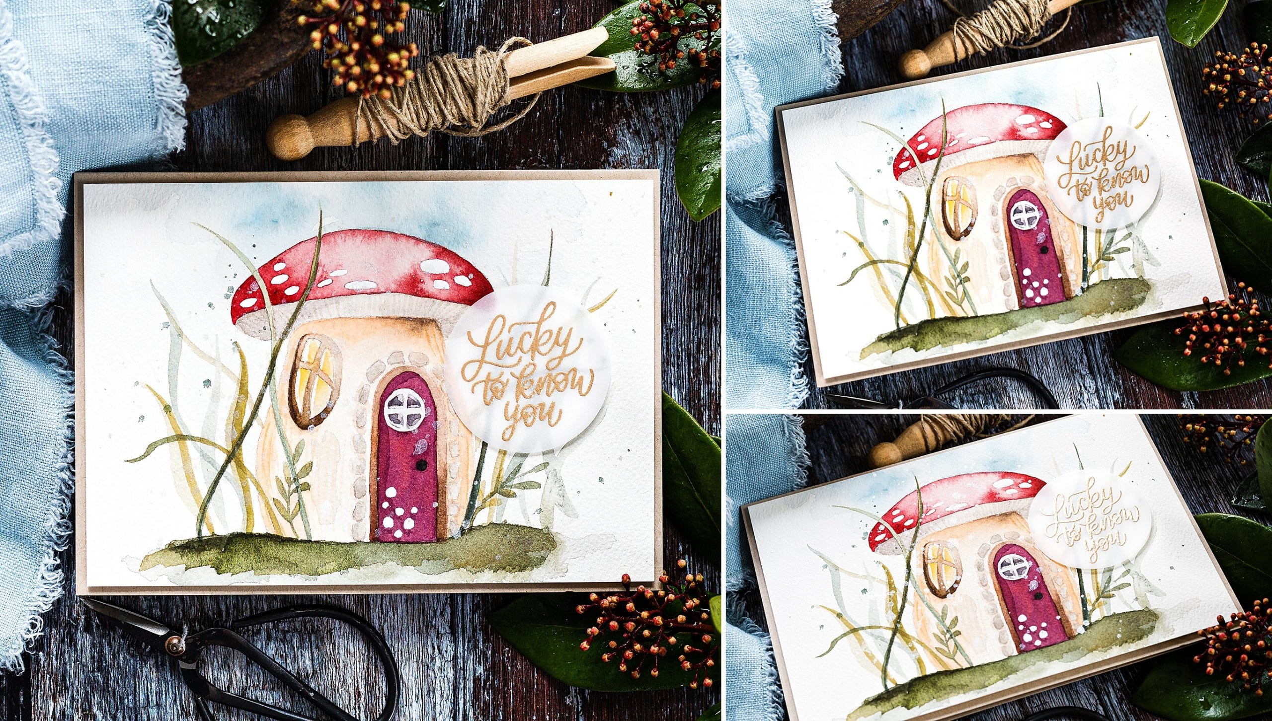 I used an adorable Mushroom House when painting this card! Such cute details you can add to make the toadstool homely. Handmade card by Debby Hughes #homemade #handmade #watercolor
