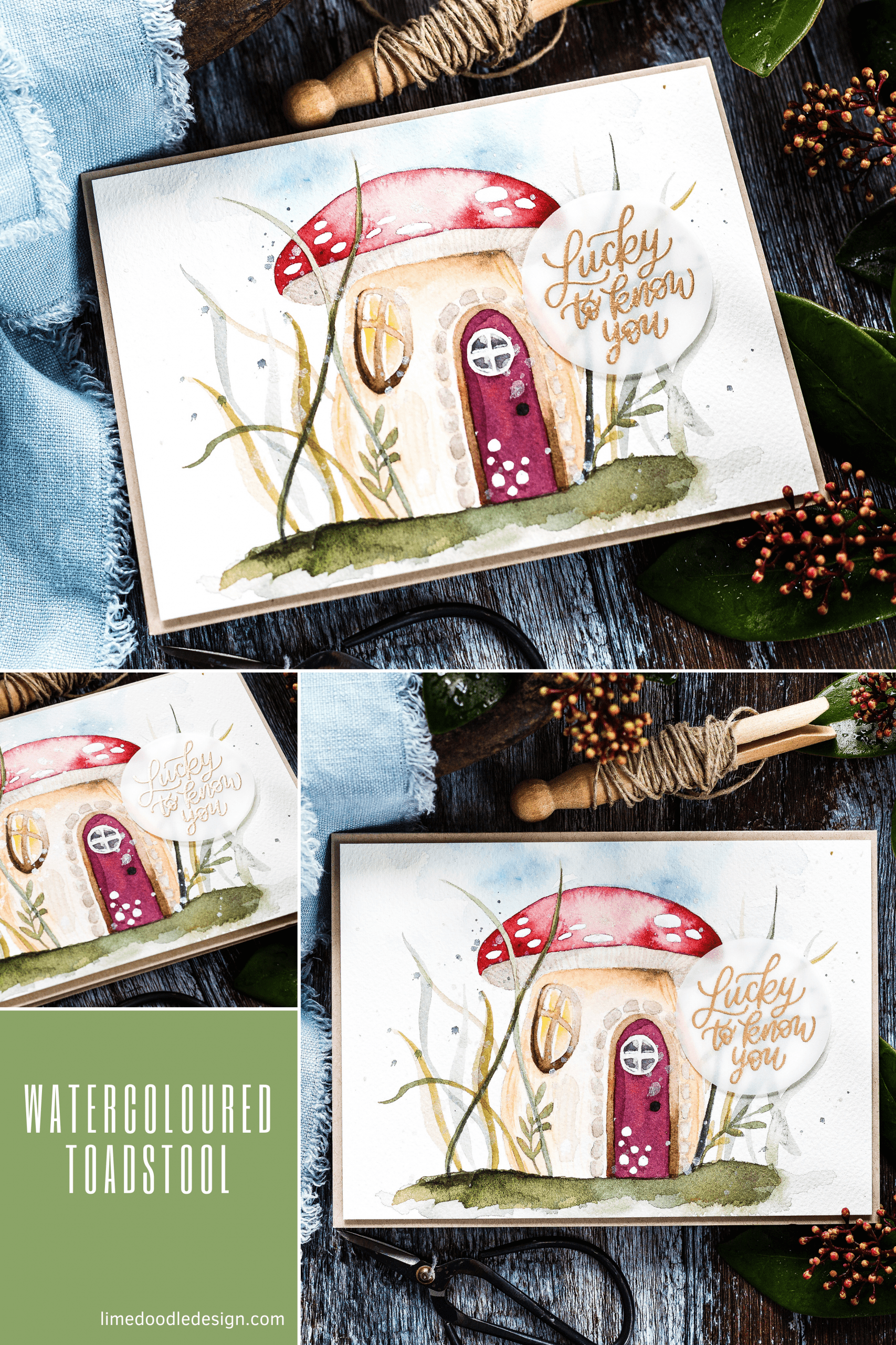 I used an adorable Mushroom House stencil when painting this card! Such cute details you can add to make the toadstool homely. Handmade card by Debby Hughes #homemade #handmade #watercolor