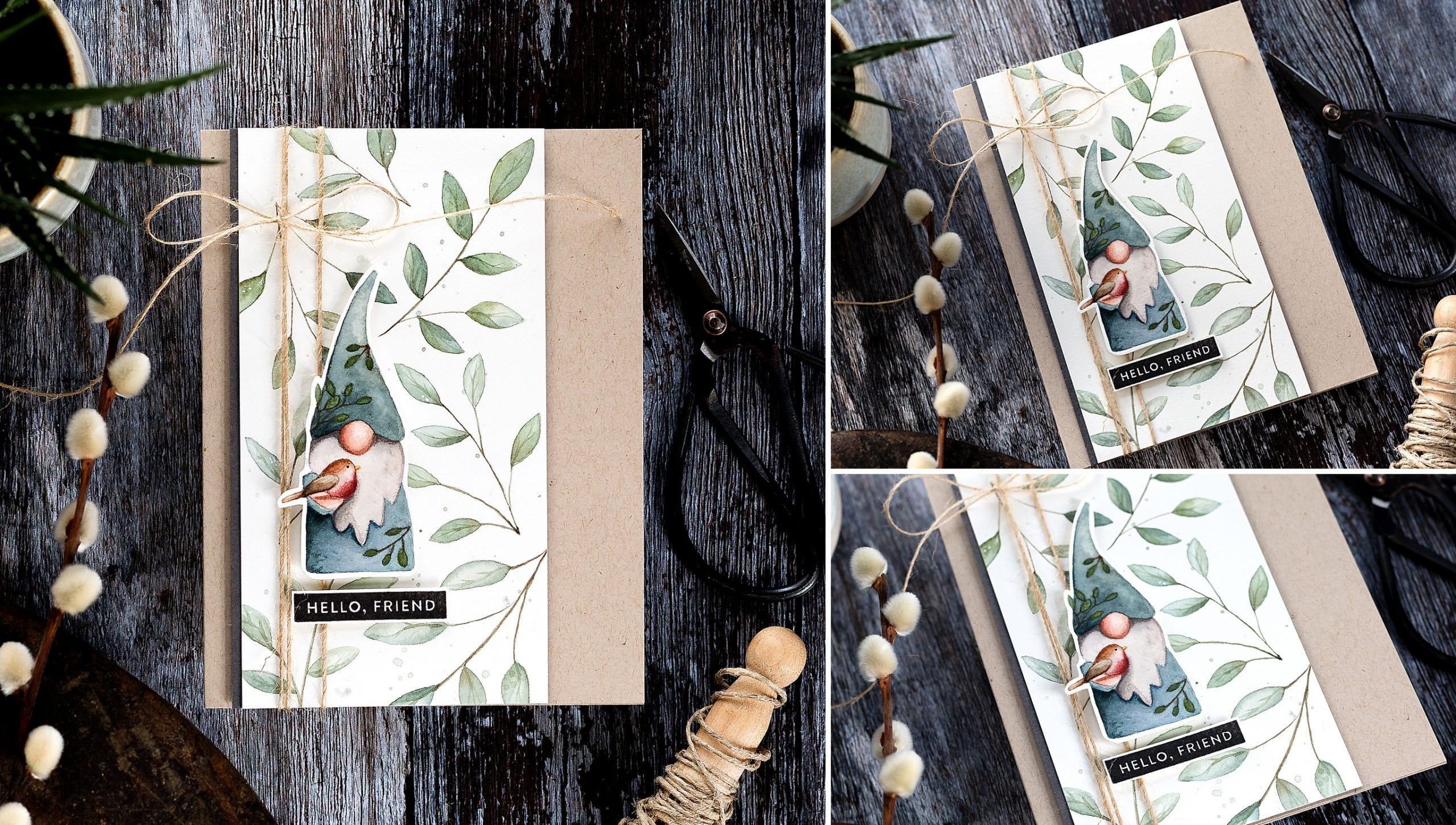 Woodland gnome watercoloured handmade card tutorial by Debby Hughes using supplies from Simon Says Stamp #tutorial #watercolor #homemade