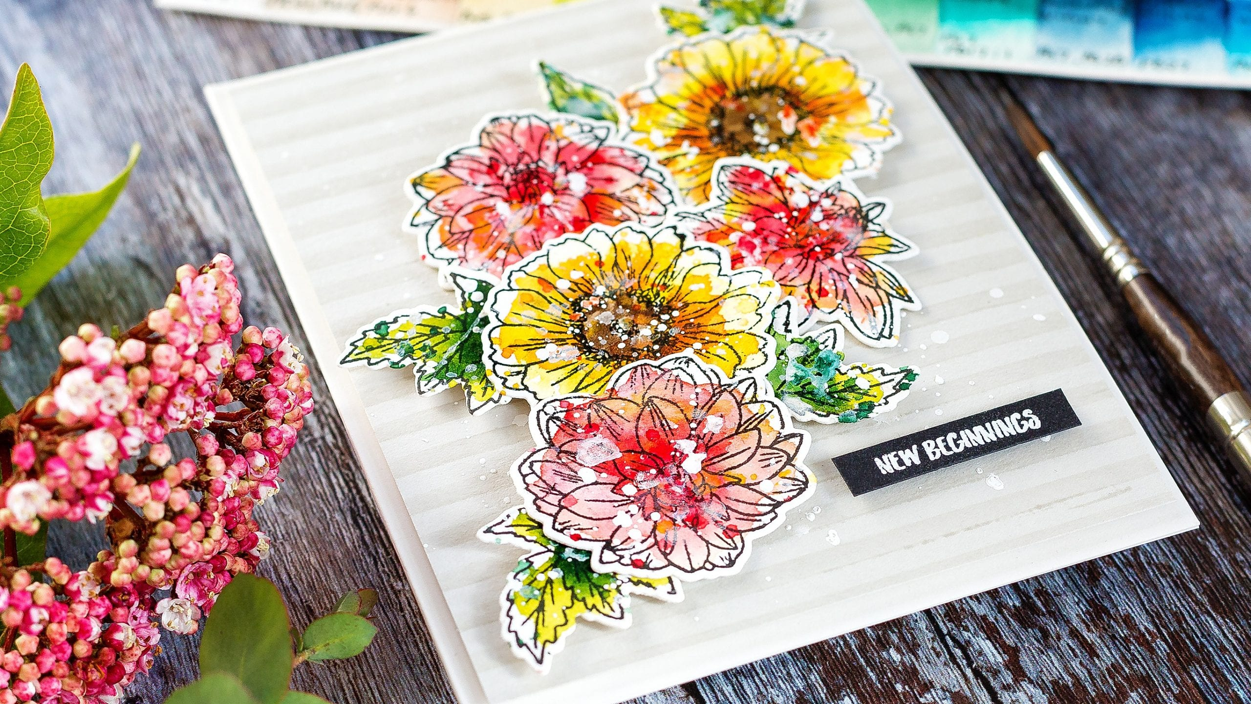 Video - unboxing Altenew's 24 half pan artist-grade watercolour palette. Plus a handmade floral watercoloured card #tutorial #watercolor #homemade