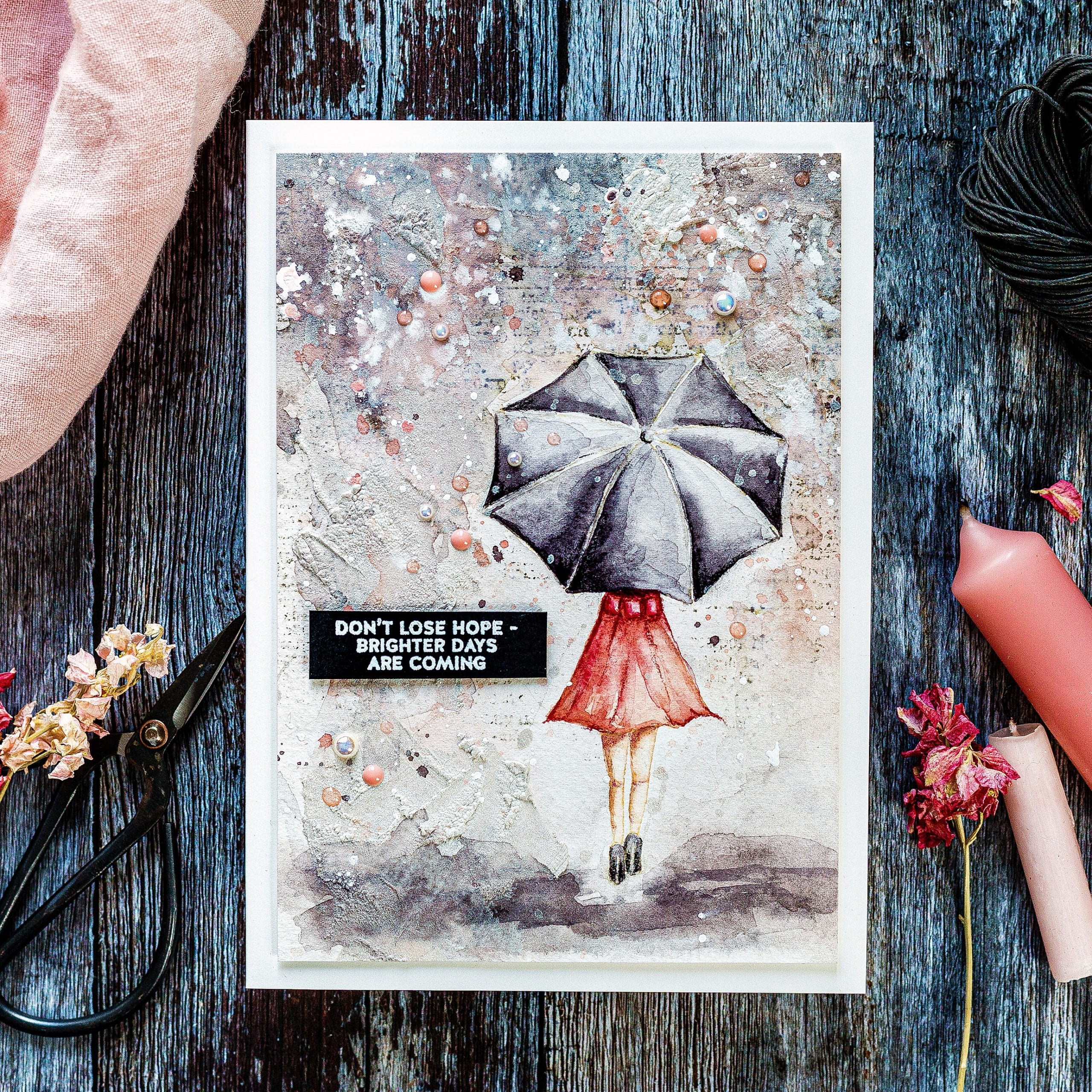 Video tutorial - textured watercolour background, handmade card by Debby Hughes using supplies from Simon Says Stamp #watercolor #homemade #tutorial