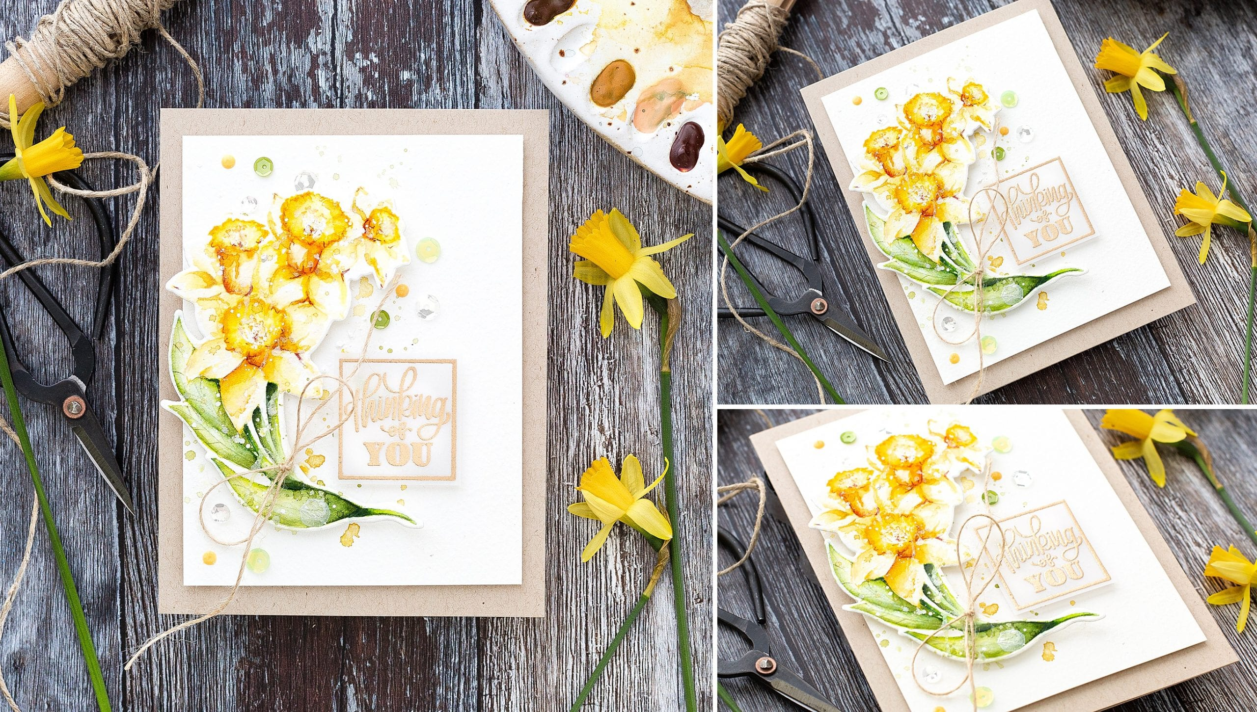 Watercoloured daffodils tutorial, handmade thinking of you card by Debby Hughes using supplies from Simon Says Stamp #watercolor #tutorial #homemade