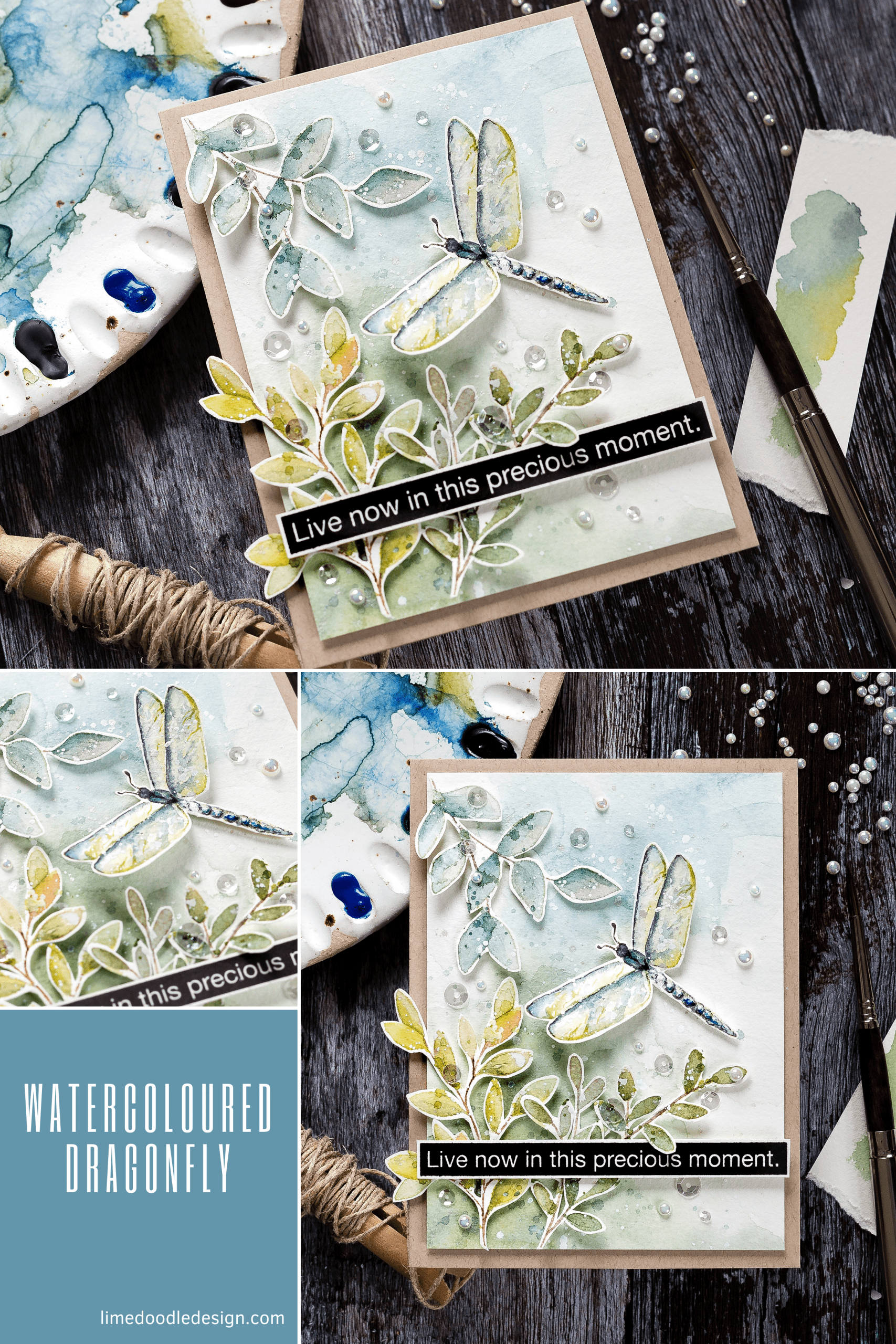 Video tutorial - watercoloured dragonfly handmade card by Debby Hughes #watercolor #tutorial #homemade