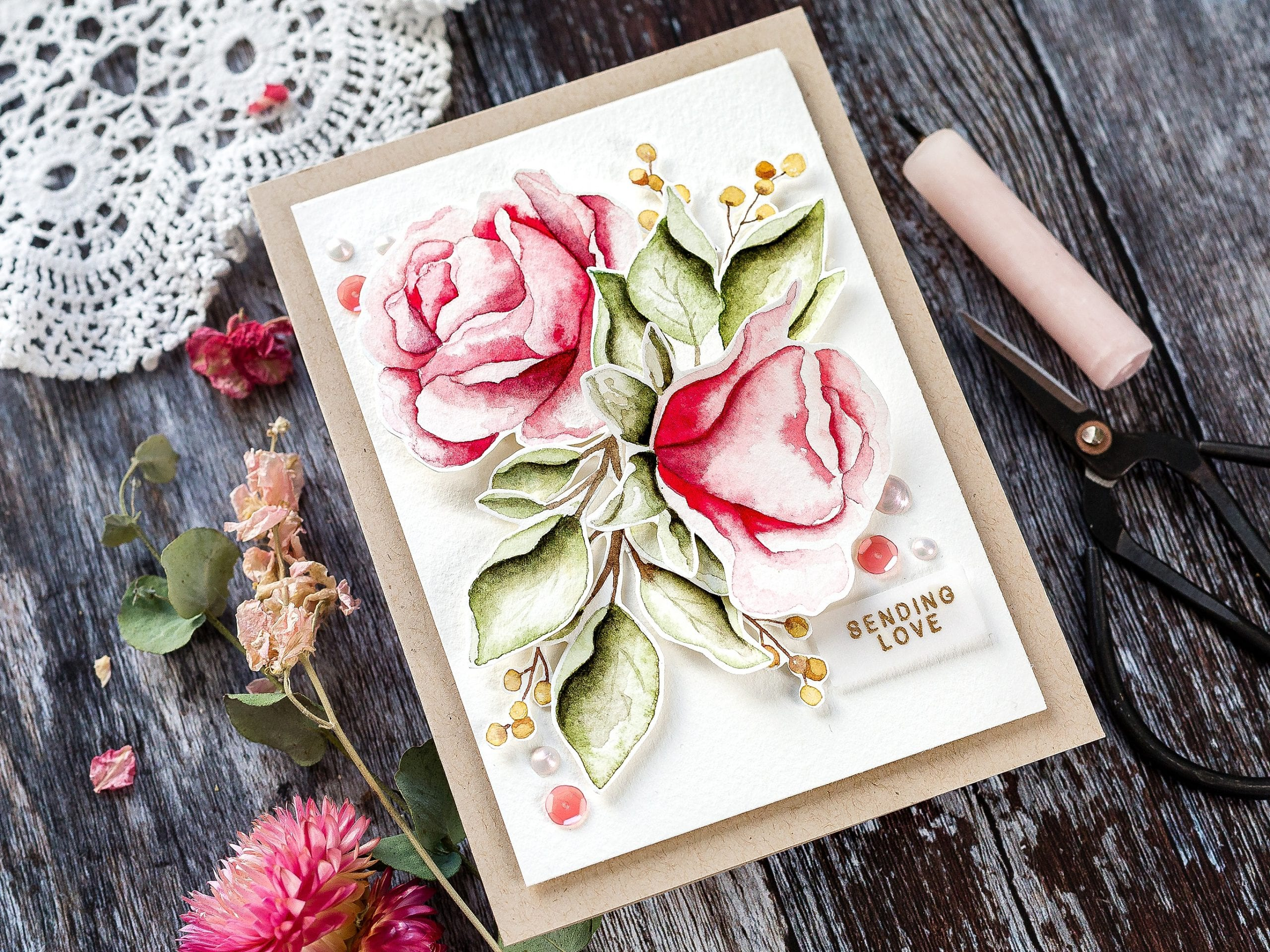 Watercoloured roses tutorial. Handmade card by Debby Hughes using supplies from Simon Says Stamp #watercolor #homemade #tutorial