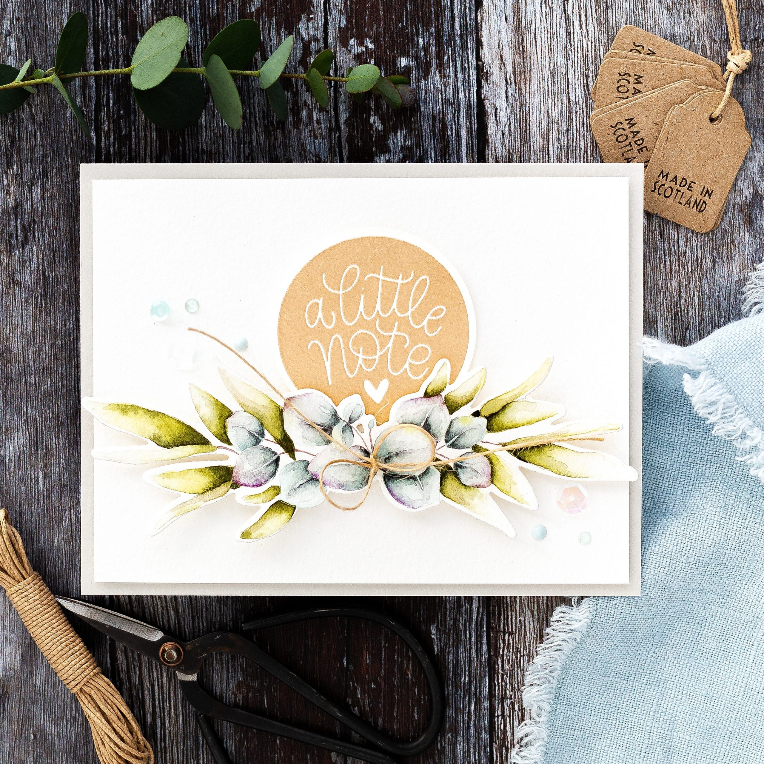 Watercoloured eucalyptus tutorial handmade card by Debby Hughes using supplies from Simon Says Stamp #watercolor #homemade #tutorial