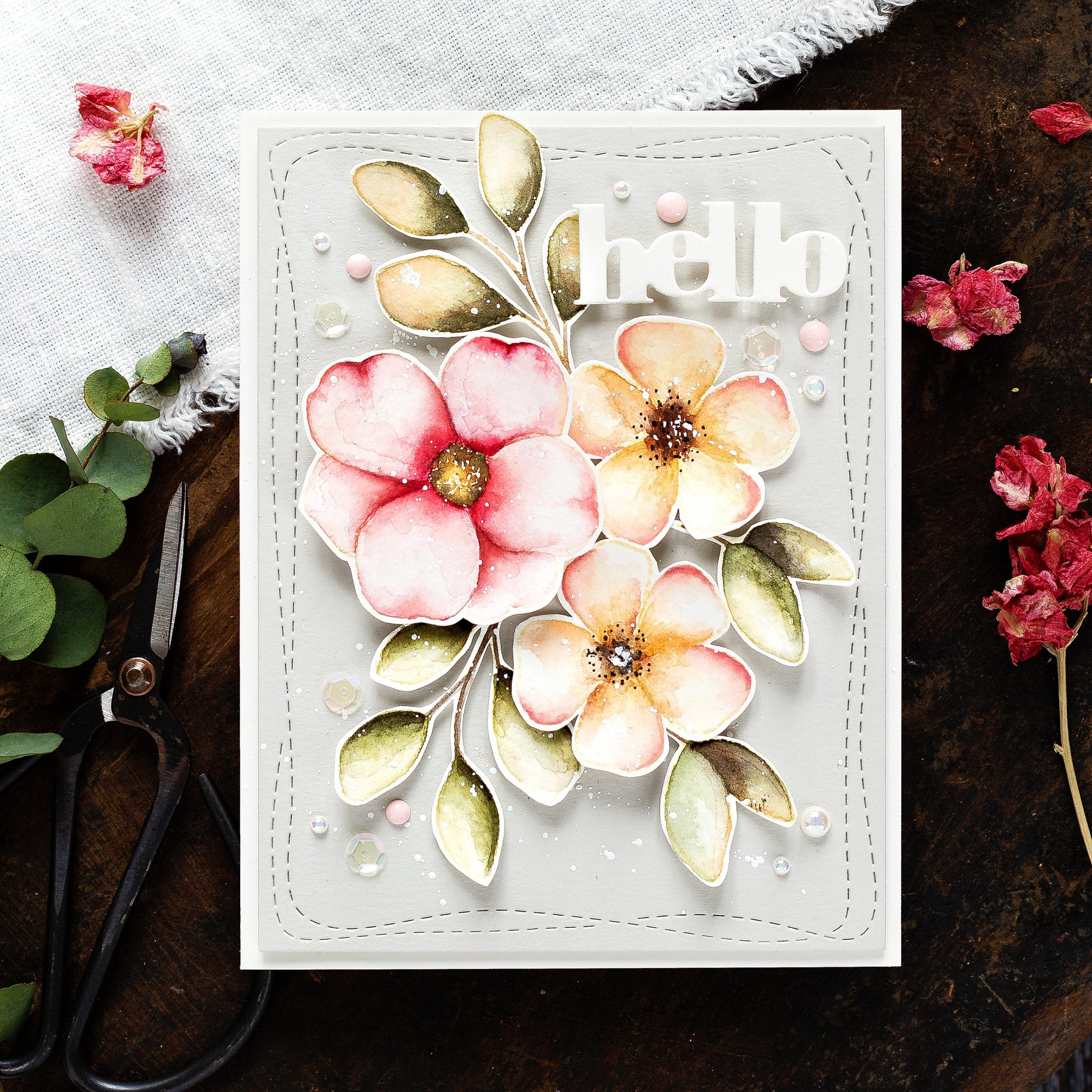 How to arrange florals easily on a handmade card by Debby Hughes using supplies from Simon Says Stamp #watercolor #homemade