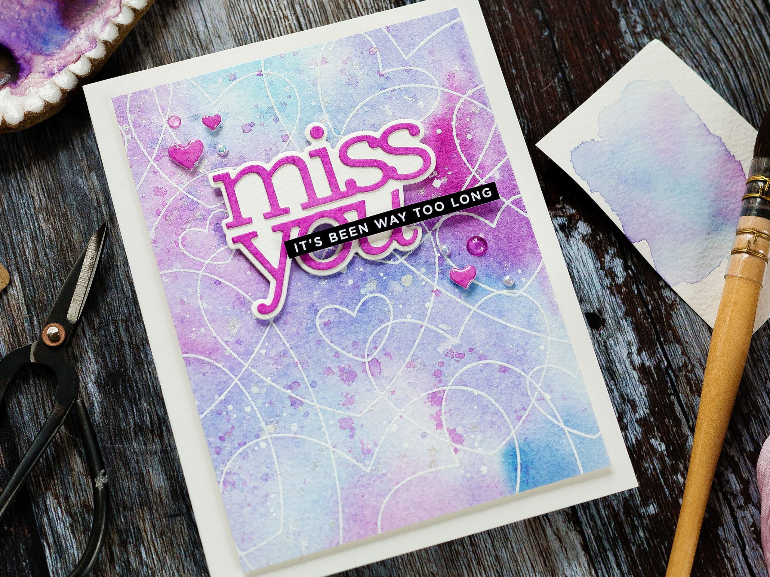 Video - easy heat embossed watercolour background handmade card by Debby Hughes using supplies from Simon Says Stamp