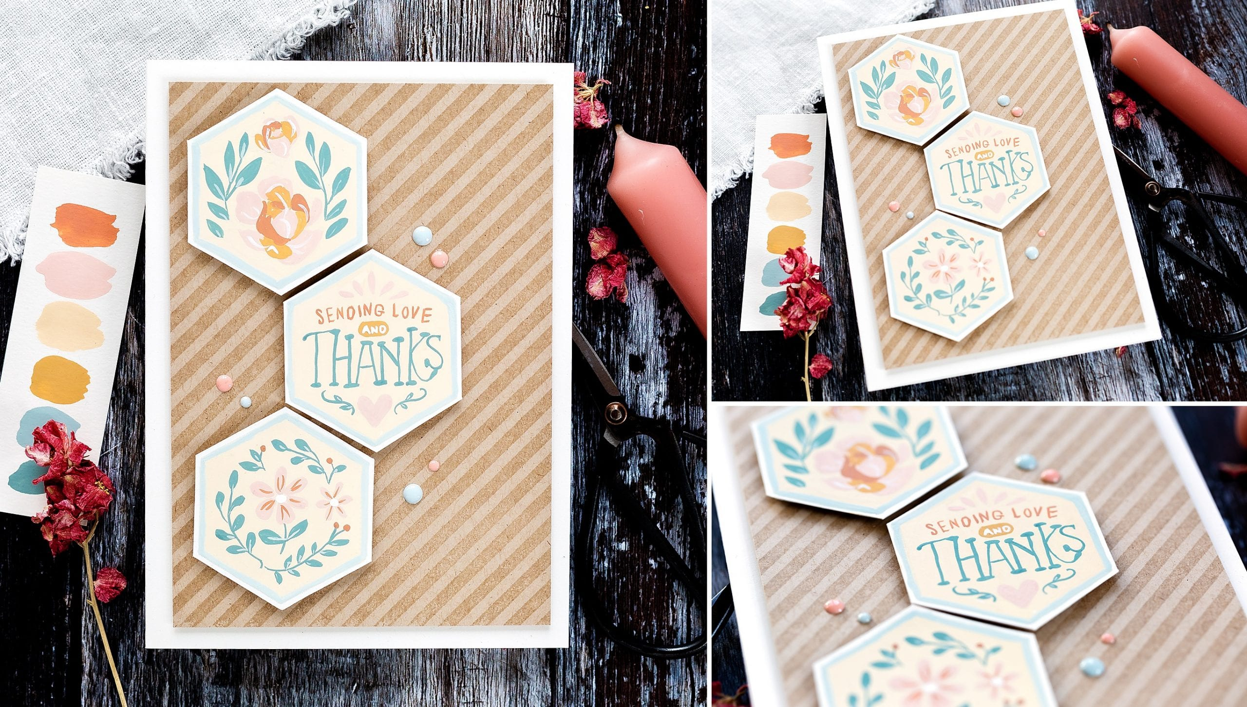 Step by step tutorial of a limited gouache colour palette, folk art, home decor inspired handmade cards by Debby Hughes using supplies from Simon Says Stamp #gouache #homemade