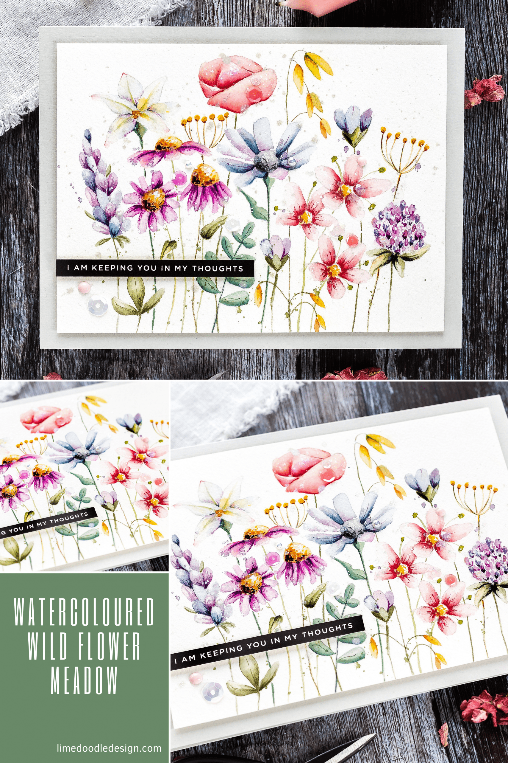 Idyllic watercoloured meadow tutorial handmade card by Debby Hughes using supplies from Simon Says Stamp #watercolor #homemade