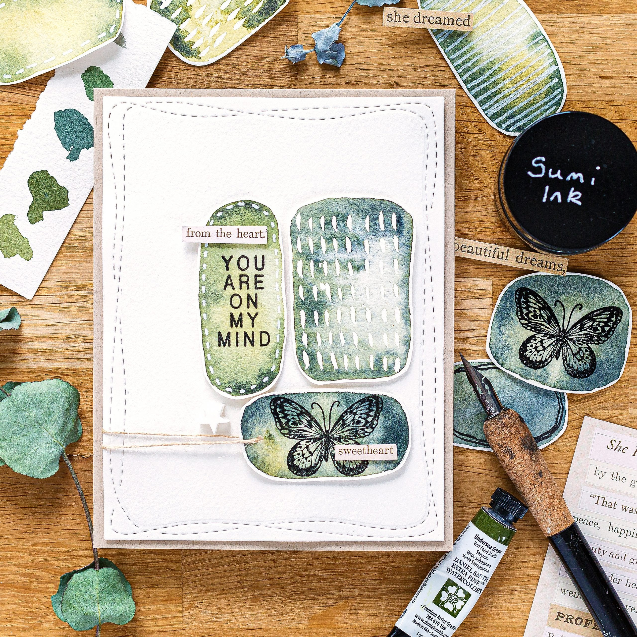Easy watercolour background tutorial, handmade card by Debby Hughes using supplies from Simon Says Stamp #watercolor #homemade