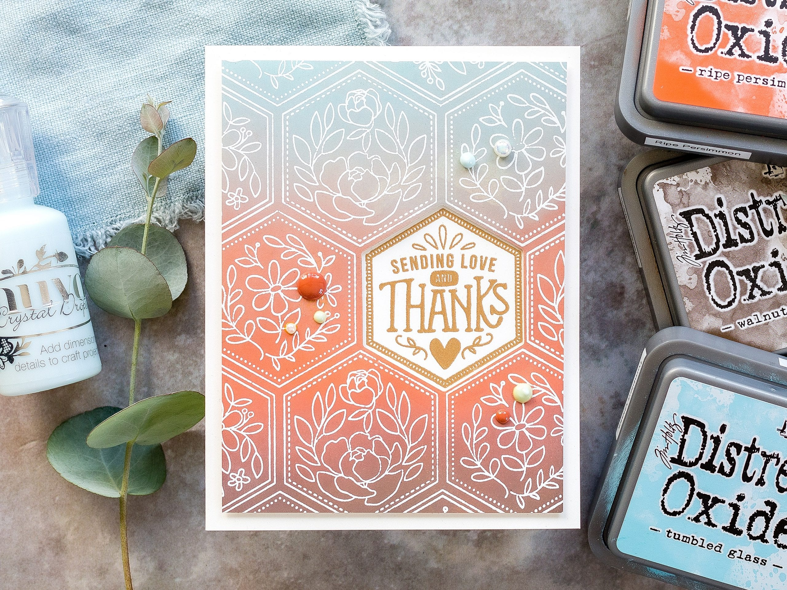 Video tutorial Tim Holtz Distress Oxide blended and heat embossed background thank you handmade card by Debby Hughes using supplies from Simon Says Stamp #homemade #distressoxide #timholtz
