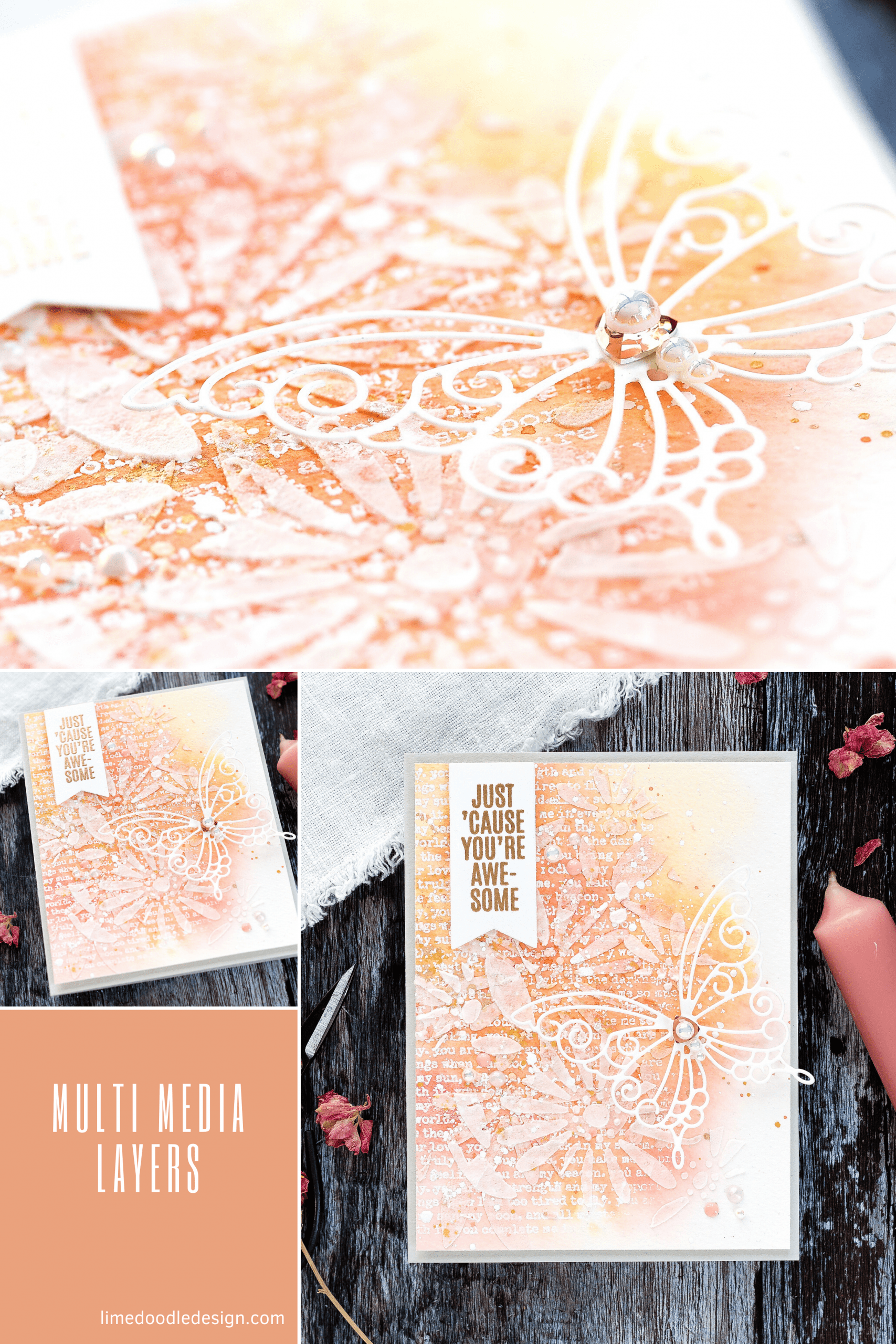 Mixed-media layers tutorial, handmade card by Debby Hughes using supplies from Simon Says Stamp #watercolor #homemade