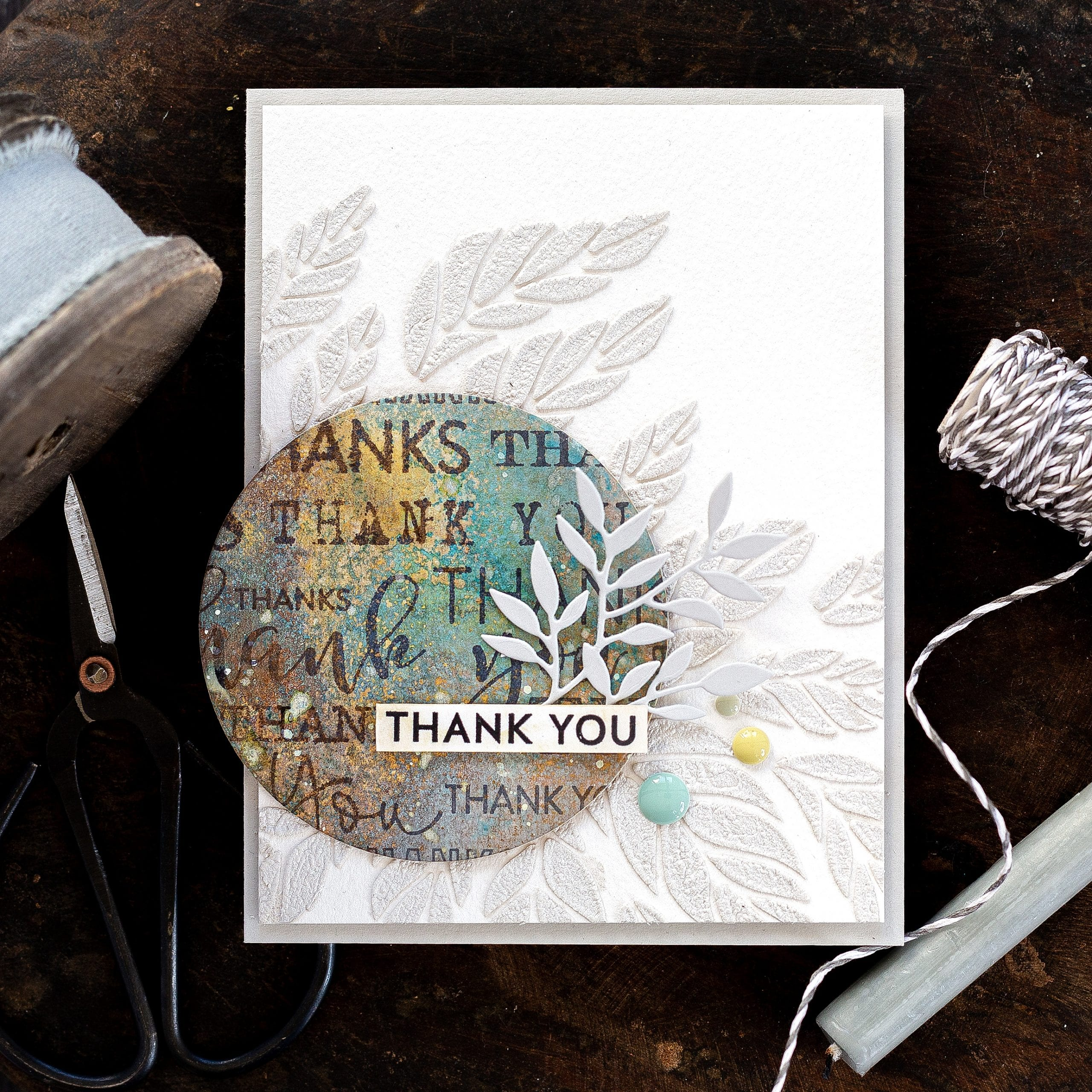 Simple mixed media tutorial handmade thank you card by Debby Hughes using Distress Oxides, Nuvo Expanding Mousse and supplies from Simon Says Stamp #distressoxides #homemade