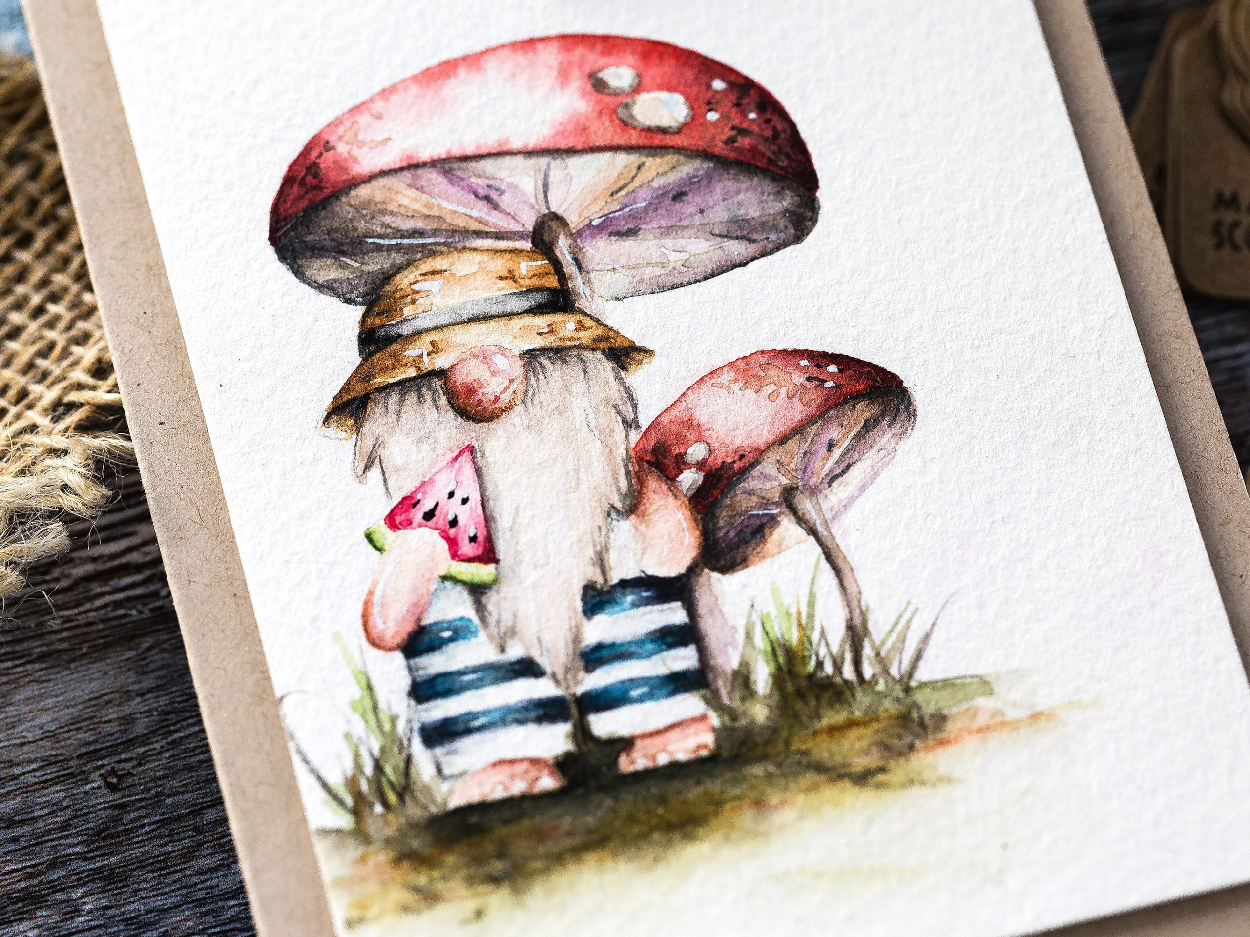 Watercoloured cute gnome tutorial handmade card by Debby Hughes using supplies from Simon Says Stamp #homemade #watercolor