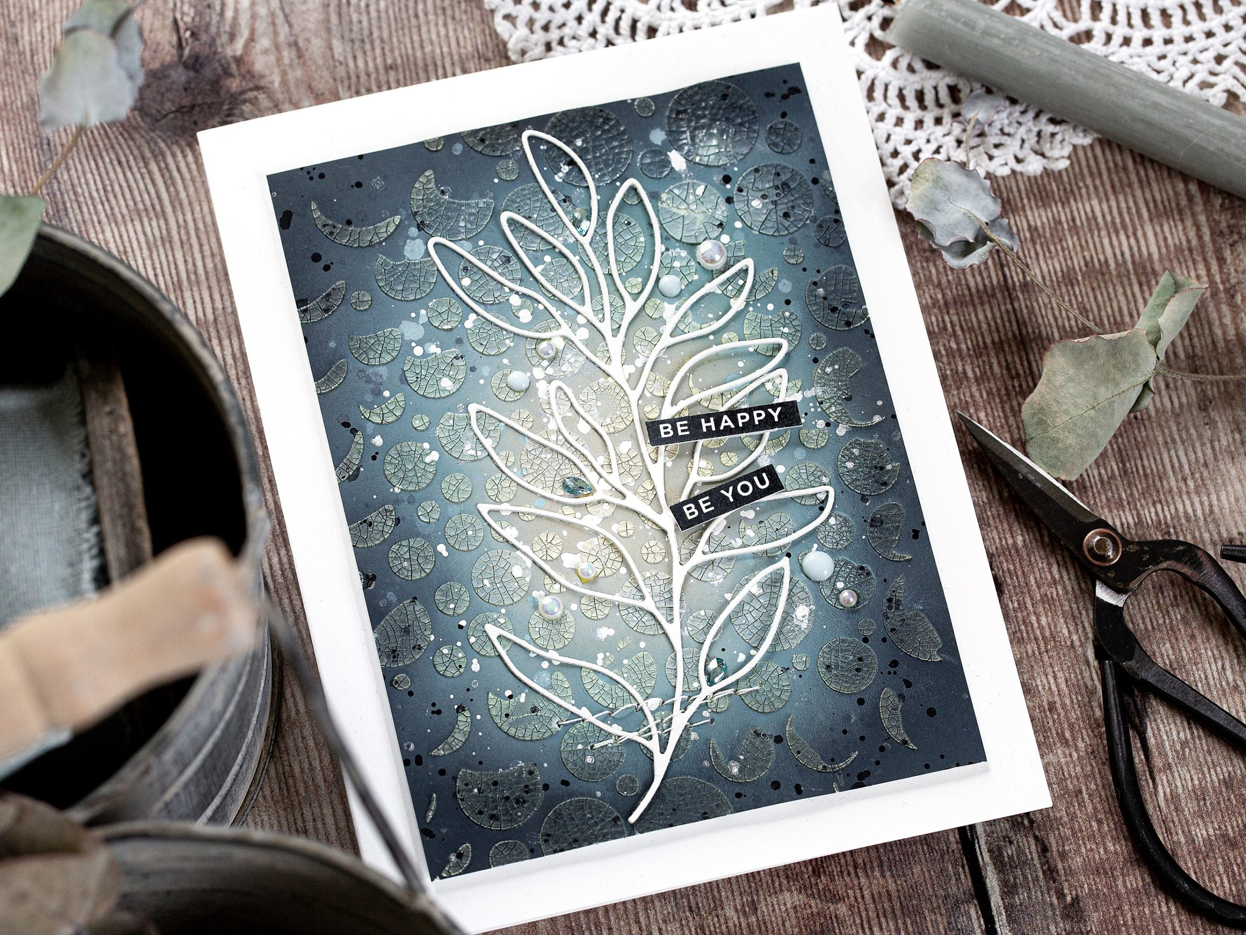 Tone on texture tutorial, handmade card by Debby Hughes using Simon Says Stamp and Tim Holtz products #crackle #texture