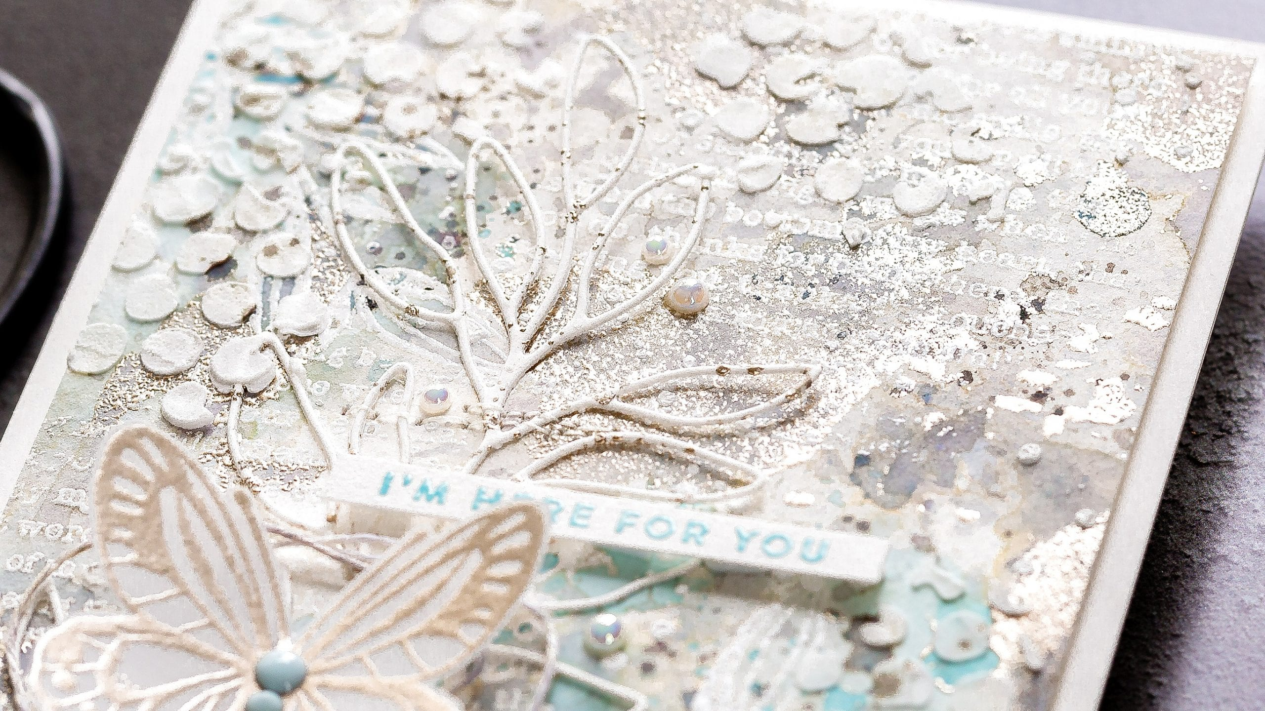 Tutorial exploring mixed media - heat embossing, stencils, texture paste, die-cuts, watery layers etc. Handmade card by Debby Hughes using supplies from Simon Says Stamp and Tim Holtz #homemade #mixedmedia