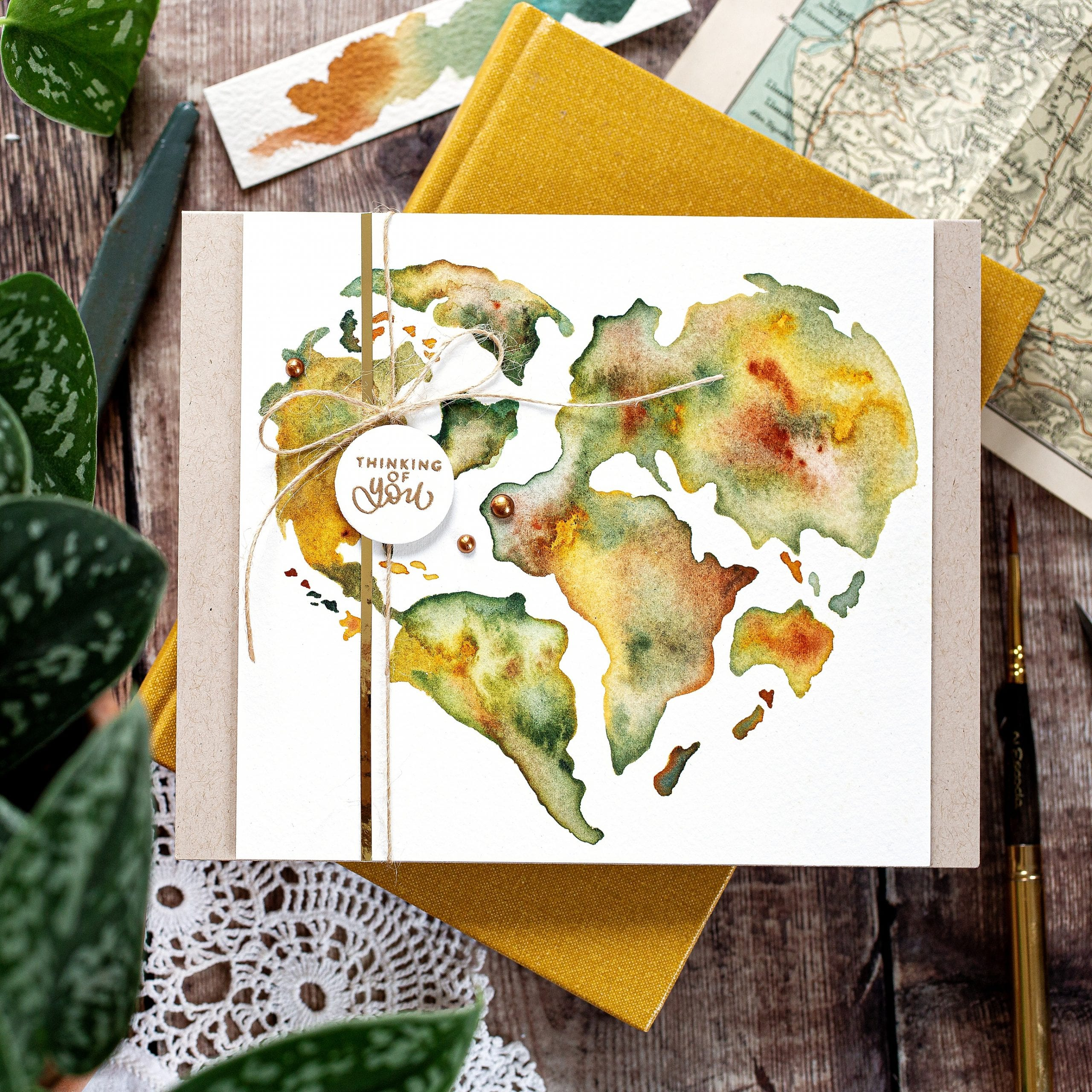 Watercoloured world map tutorial, handmade card by Debby Hughes using supplies from Simon Says Stamp #watercolor #homemade