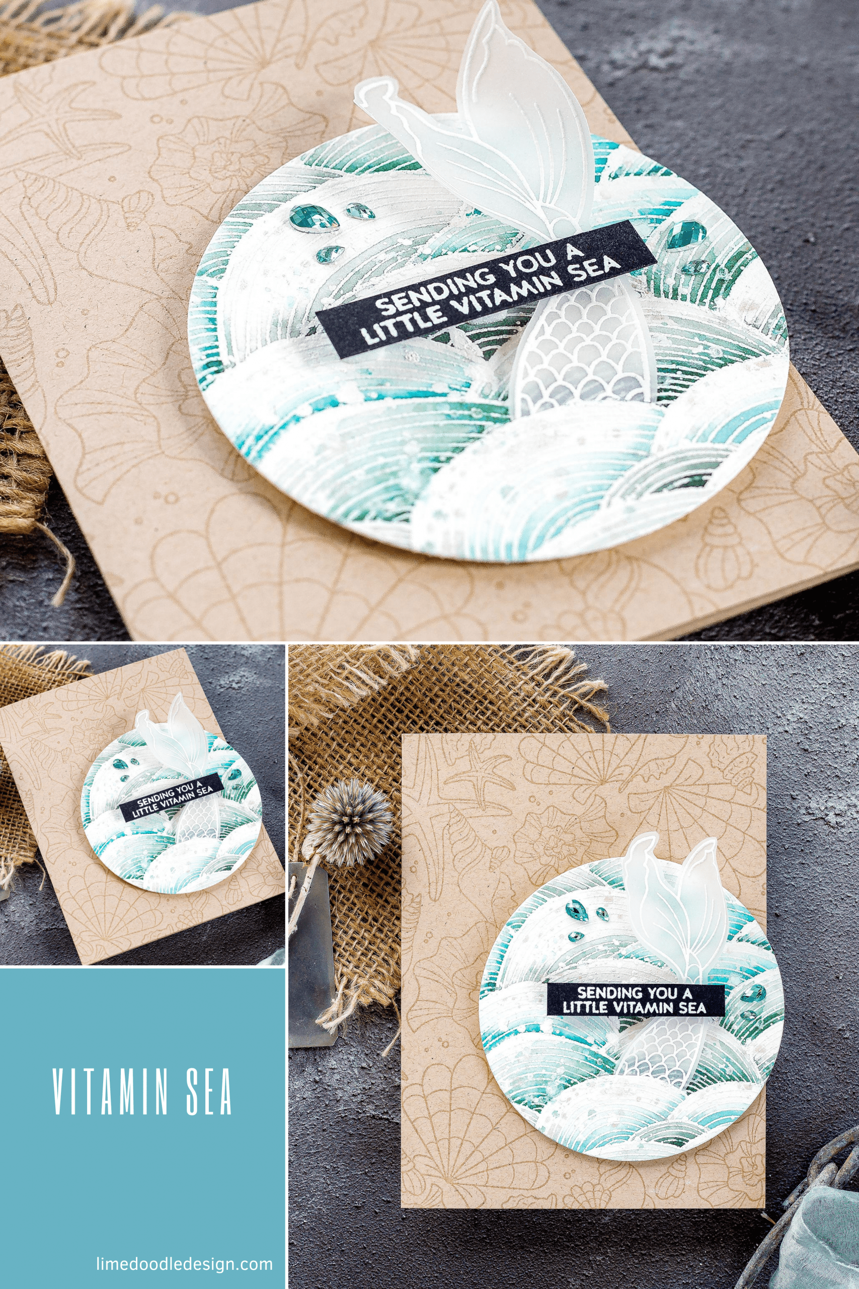 Watercoloured sea themed handmade card tutorial by Debby Hughes using supplies from Simon Says Stamp #watercolor #homemade
