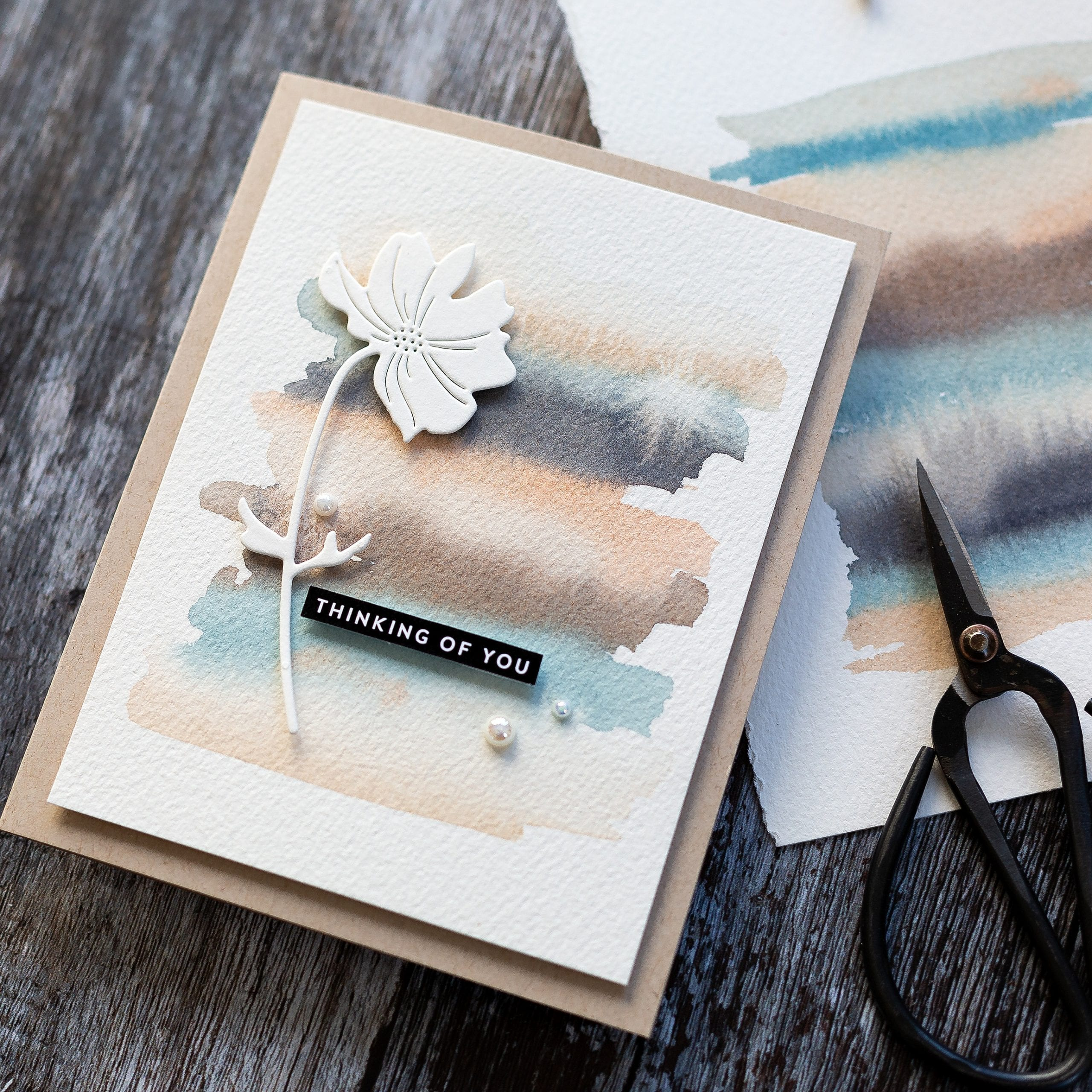 Easy watercolour background handmade card tutorial by Debby Hughes using supplies from Simon Says Stamp #watercolor #homemade