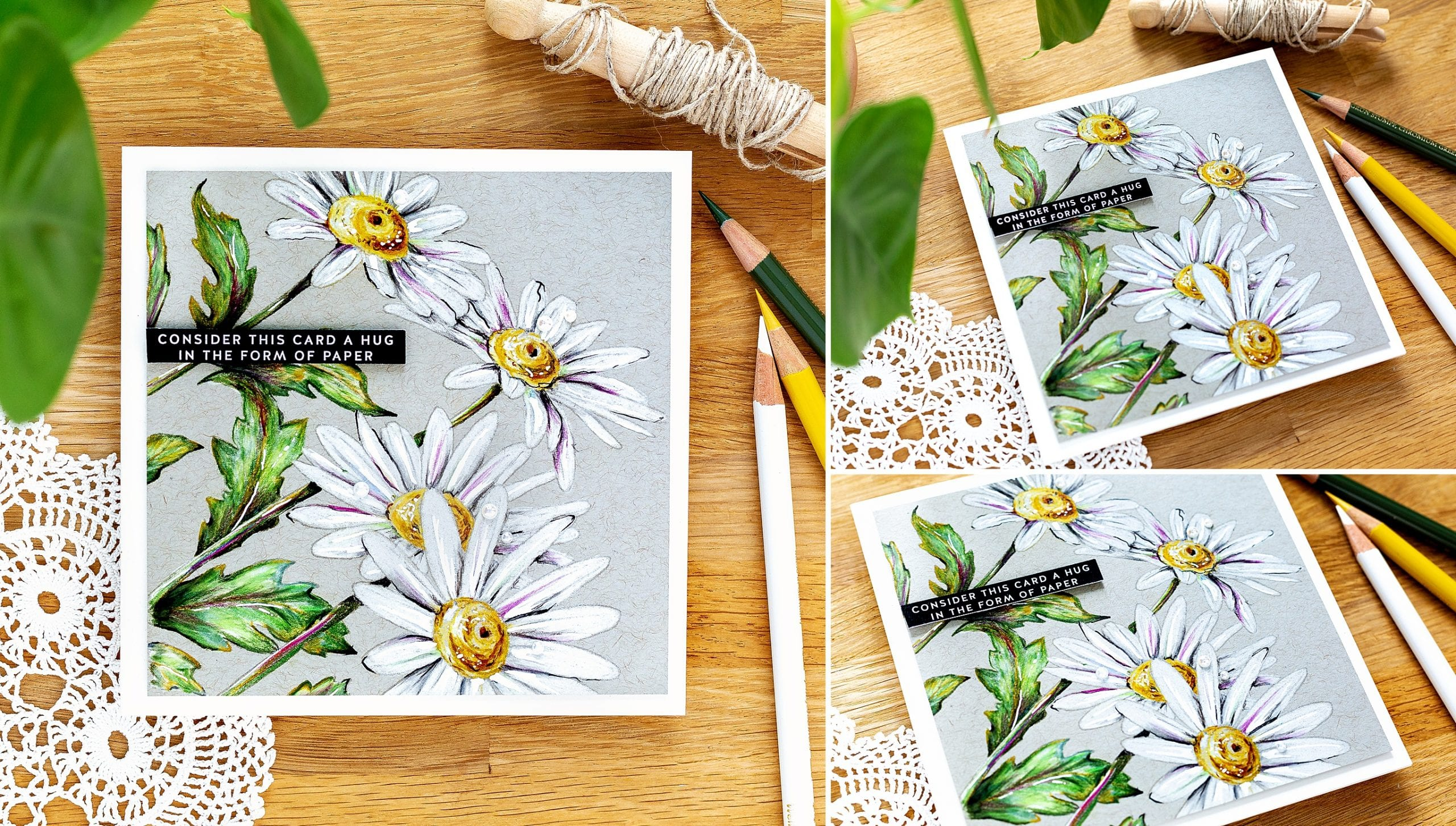 Coloured pencils on kraft handmade card tutorial by Debby Hughes using supplies from Simon Says Stamp #pencils #homemade