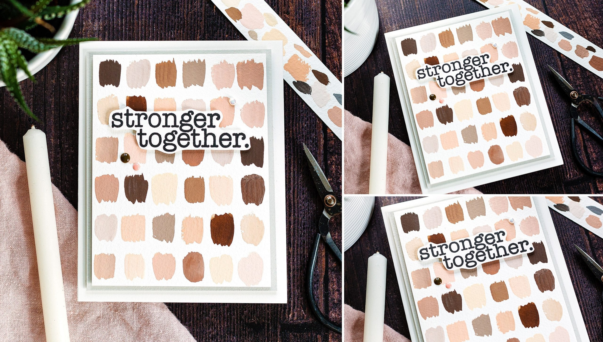 Using repetition of gouache skin tone swatches to create a handmade card. Tutorial by Debby Hughes using supplies from Simon Says Stamp #gouache #homemade