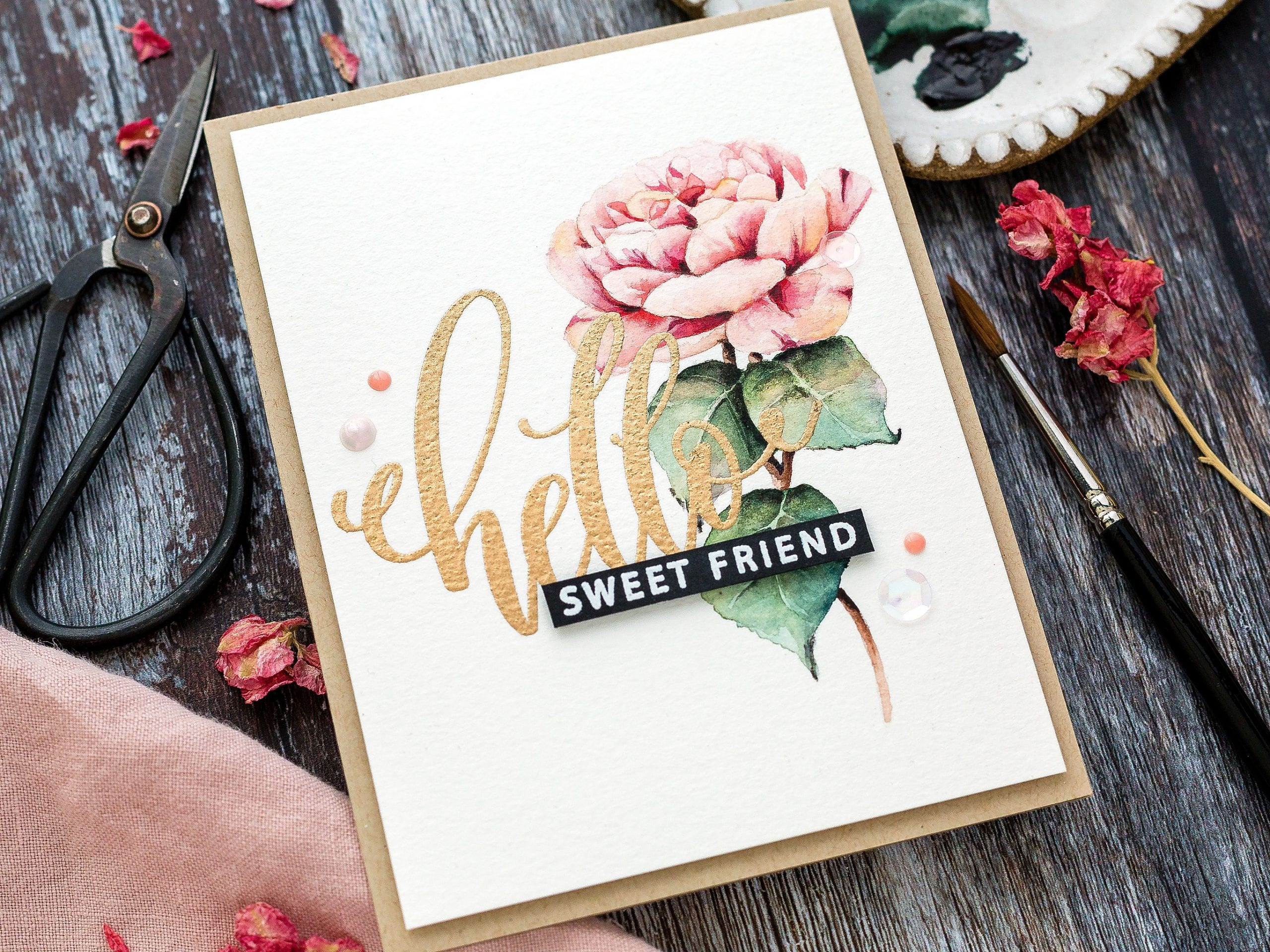 Watercoloured rose handmade card tutorial by Debby Hughes using supplies from Simon Says Stamp #watercolor #rose #homemade