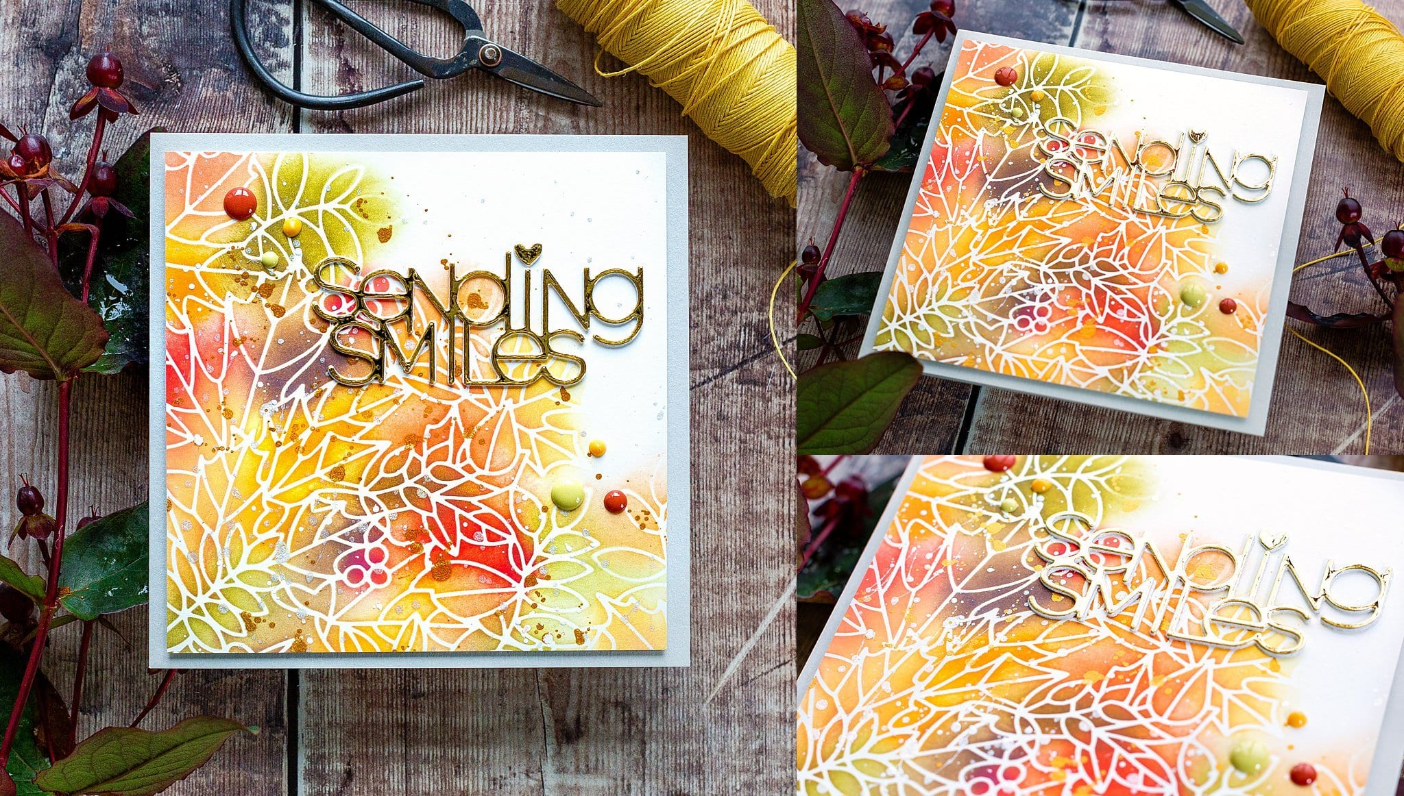 Autumn leaves stencil tutorial. Handmade card by Debby Hughes using supplies from Simon Says Stamp #stencil #homemade