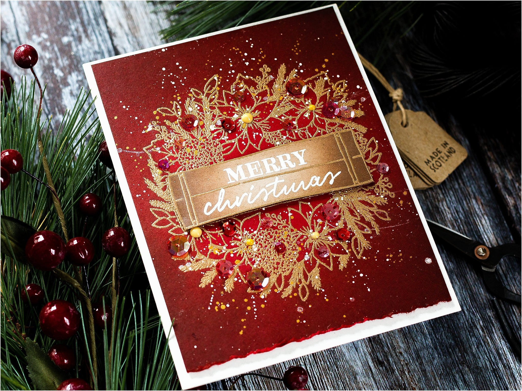 Simple heat embossed Christmas wreath handmade card tutorial by Debby Hughes using supplies from Concord & 9th