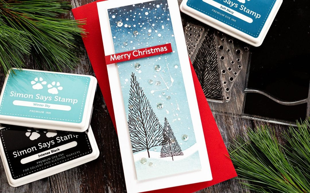 Slimline Stamped Christmas + Lawn Fawn STAMPtember